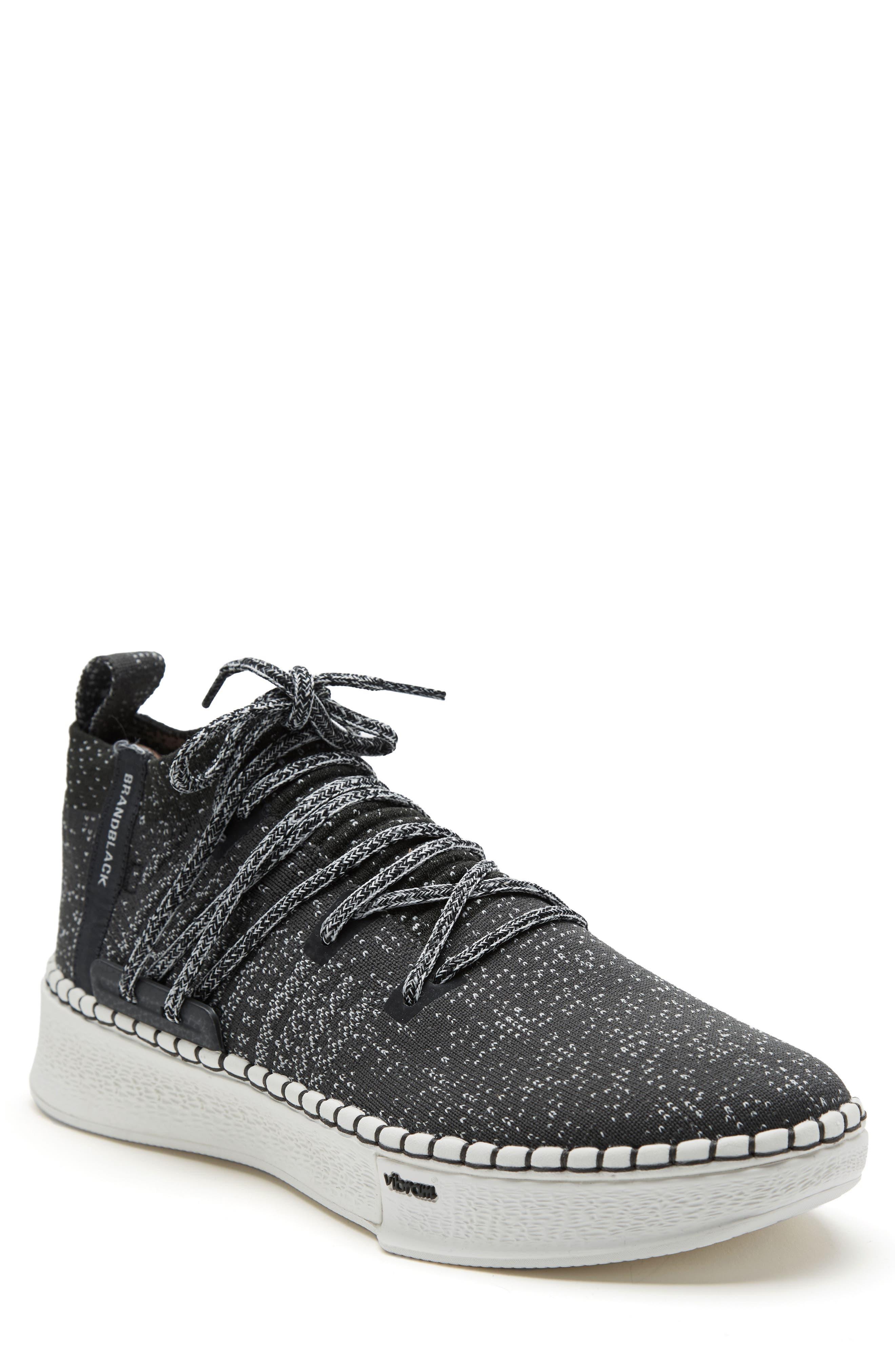 Delta Arrows Mid Top Knit Sneaker,                             Main thumbnail 1, color,                             BLACK/ WHITE