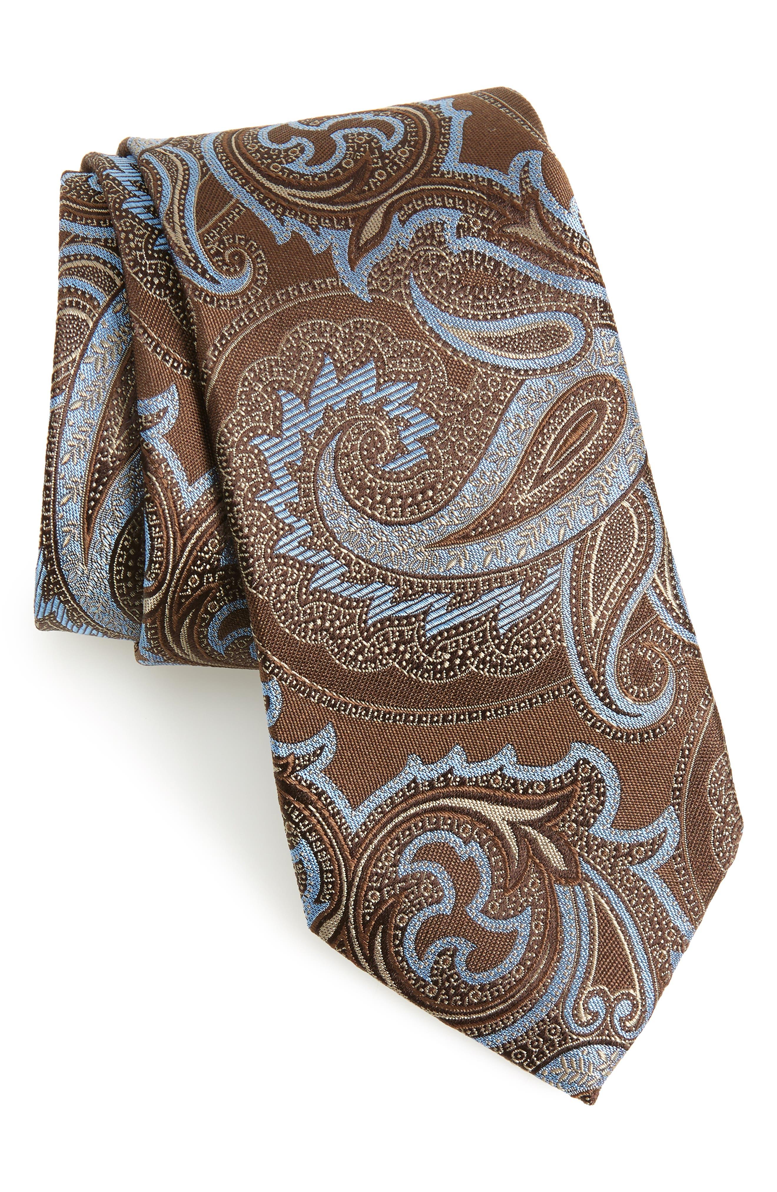 Segura Paisley Silk Tie,                         Main,                         color, TAUPE