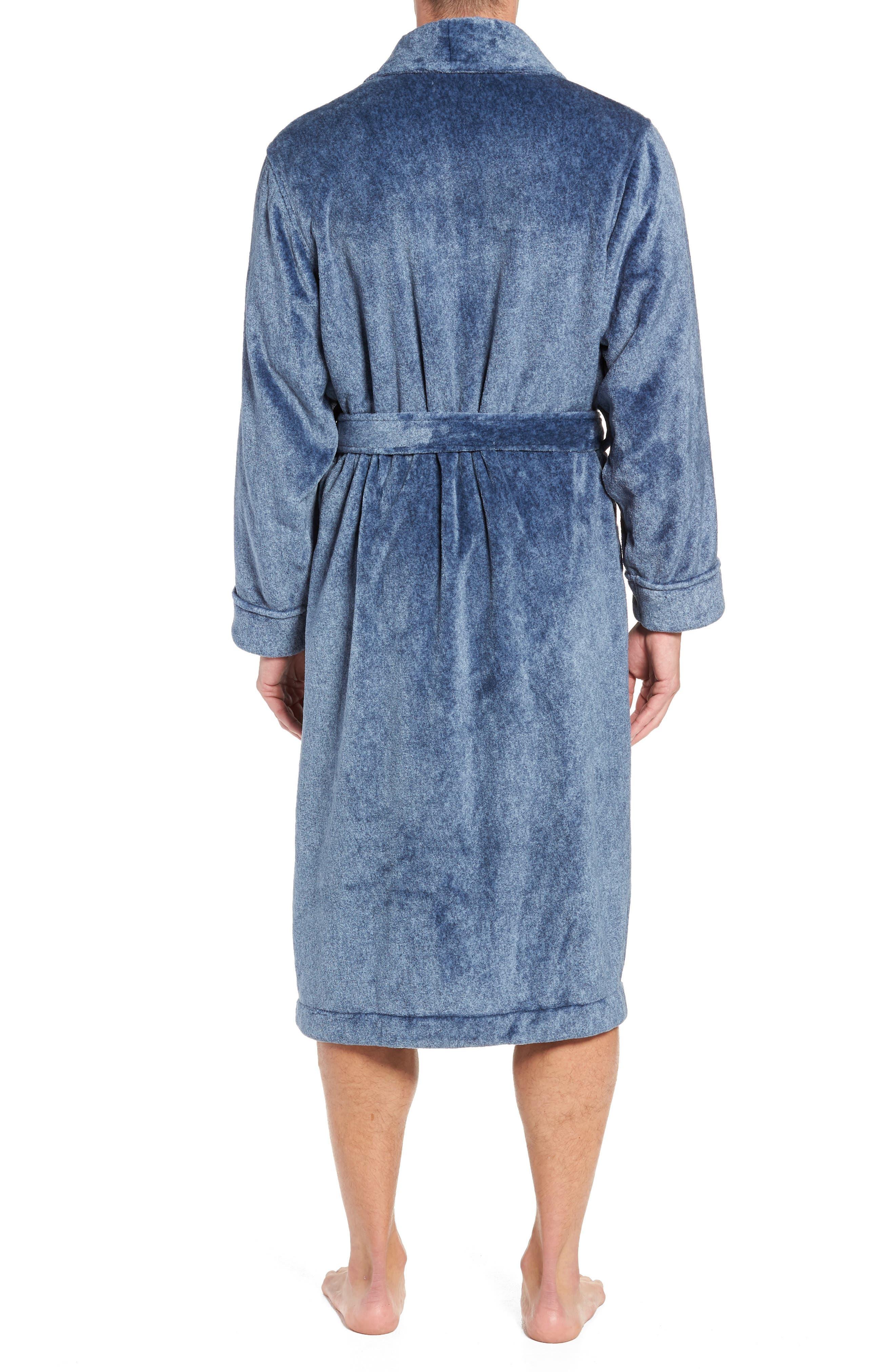 Heathered Fleece Robe,                             Alternate thumbnail 2, color,                             BLUE CORONET