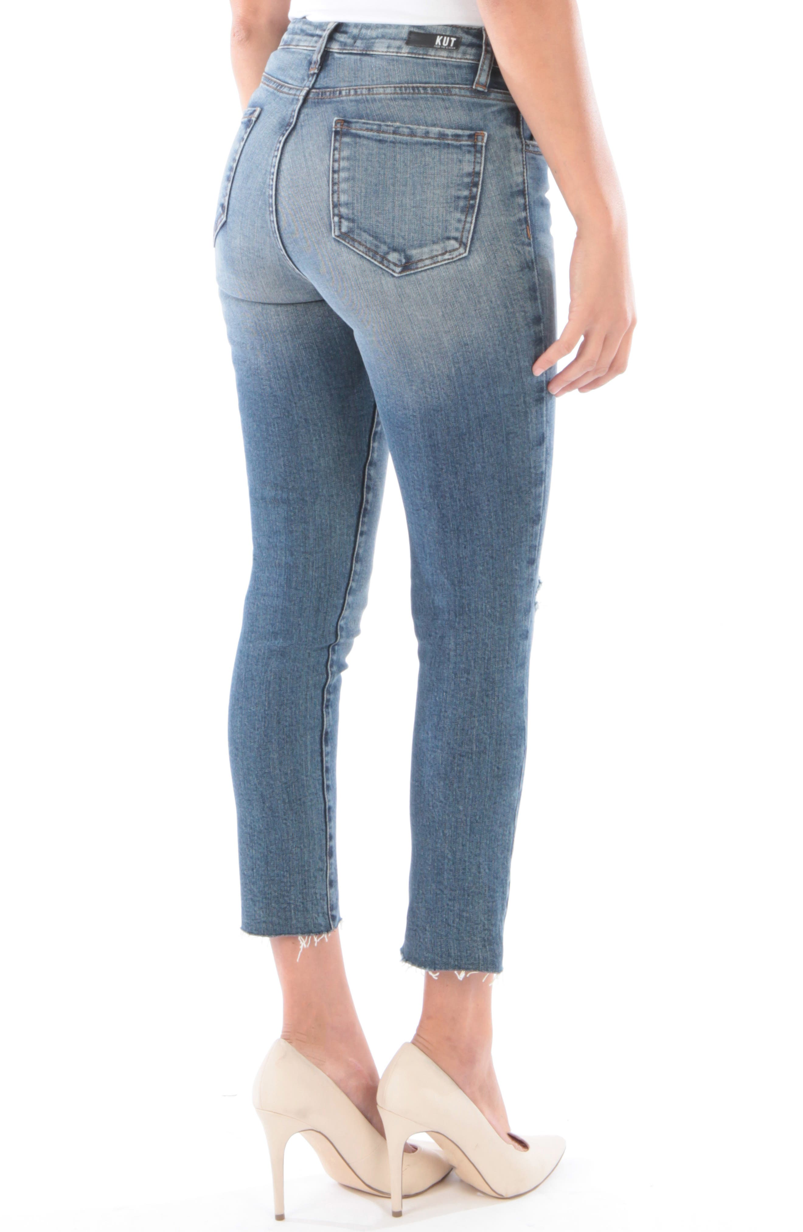 Reese Ripped Ankle Straight Leg Jeans,                             Alternate thumbnail 2, color,                             402