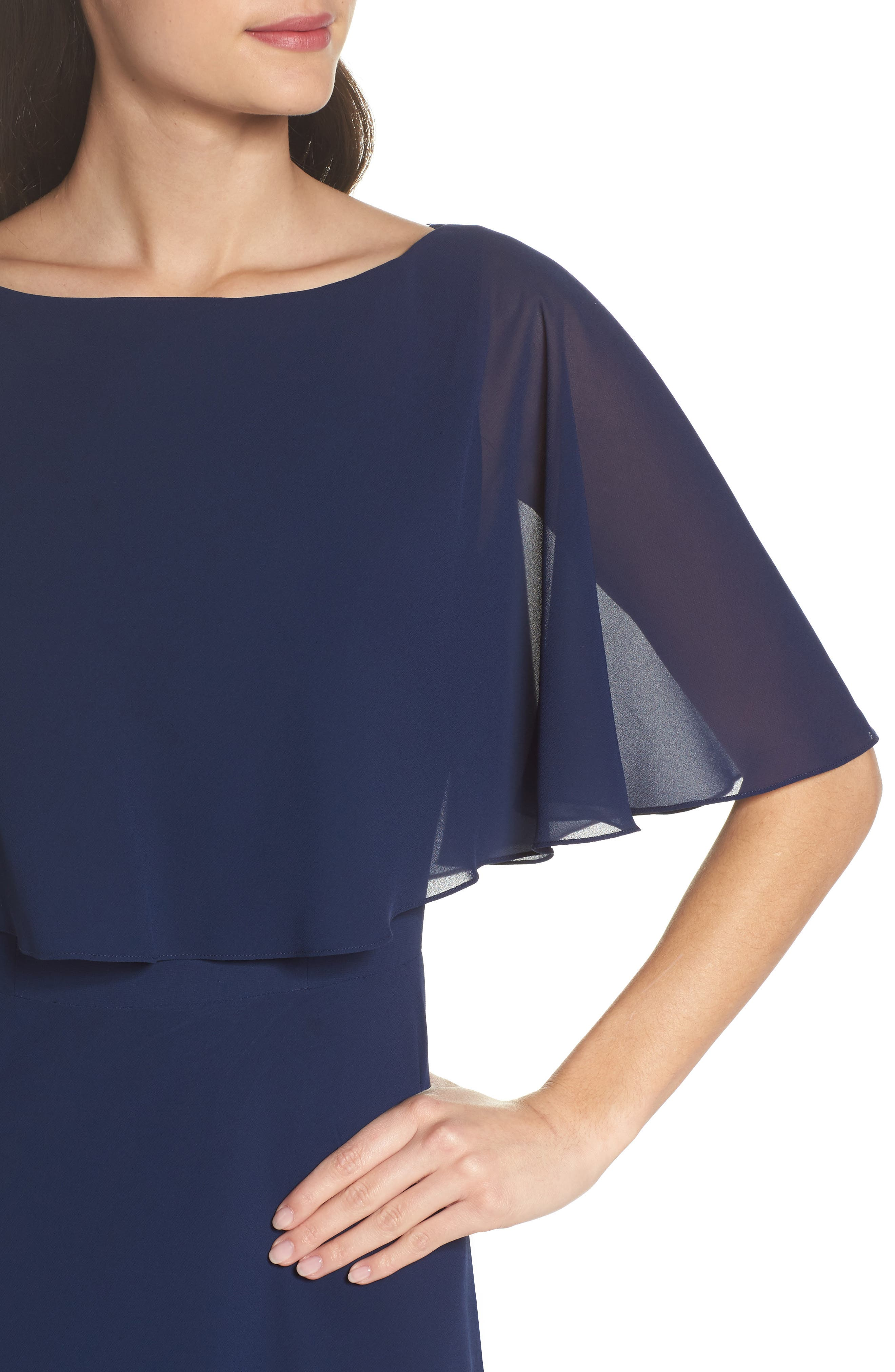 Popover Chiffon Gown,                             Alternate thumbnail 4, color,                             NAVY