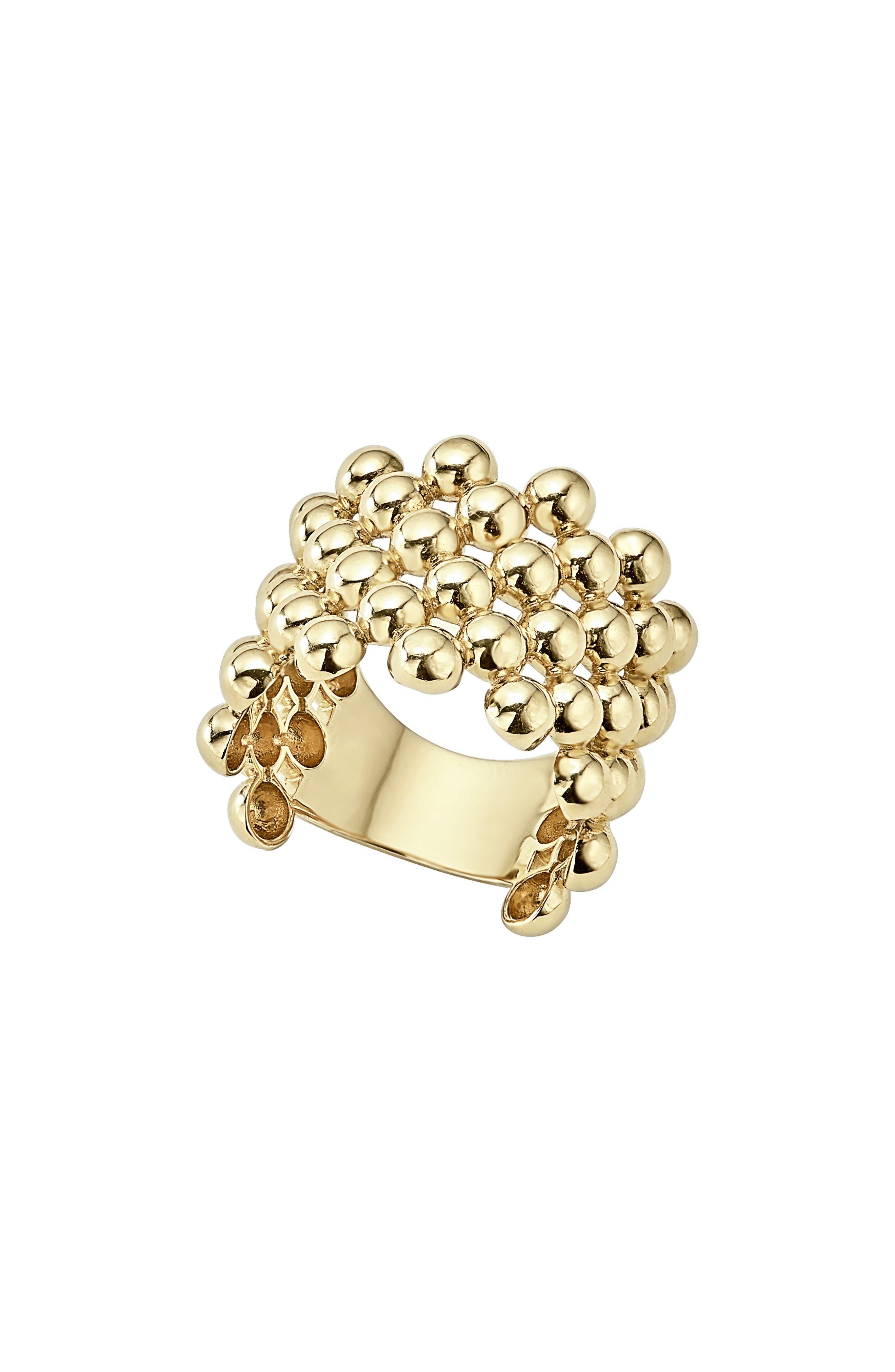 Caviar Gold Wide Band Ring,                             Main thumbnail 1, color,                             GOLD