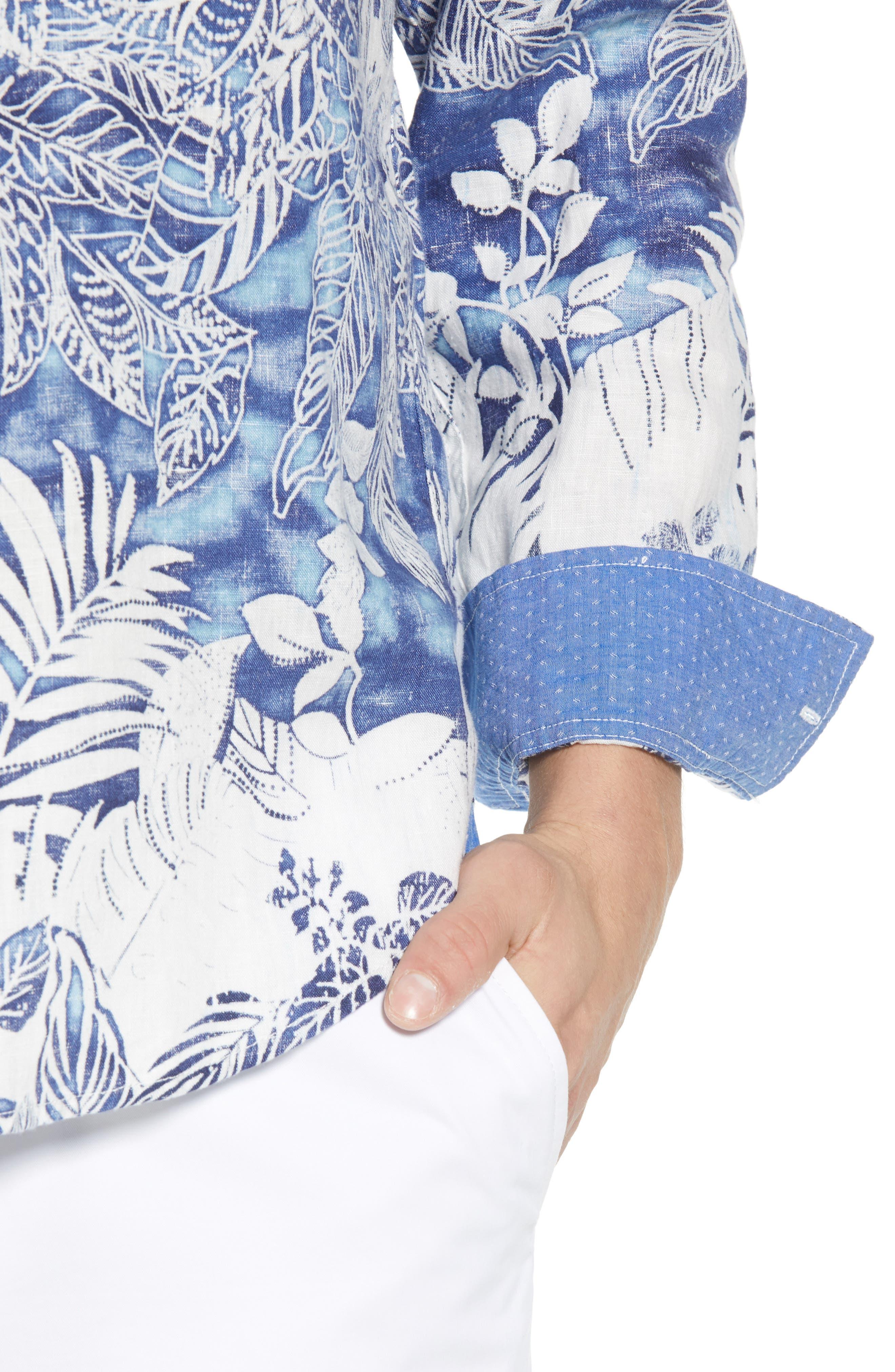 Mariachi Mirage Linen Sport Shirt,                             Alternate thumbnail 4, color,                             ECLIPSE