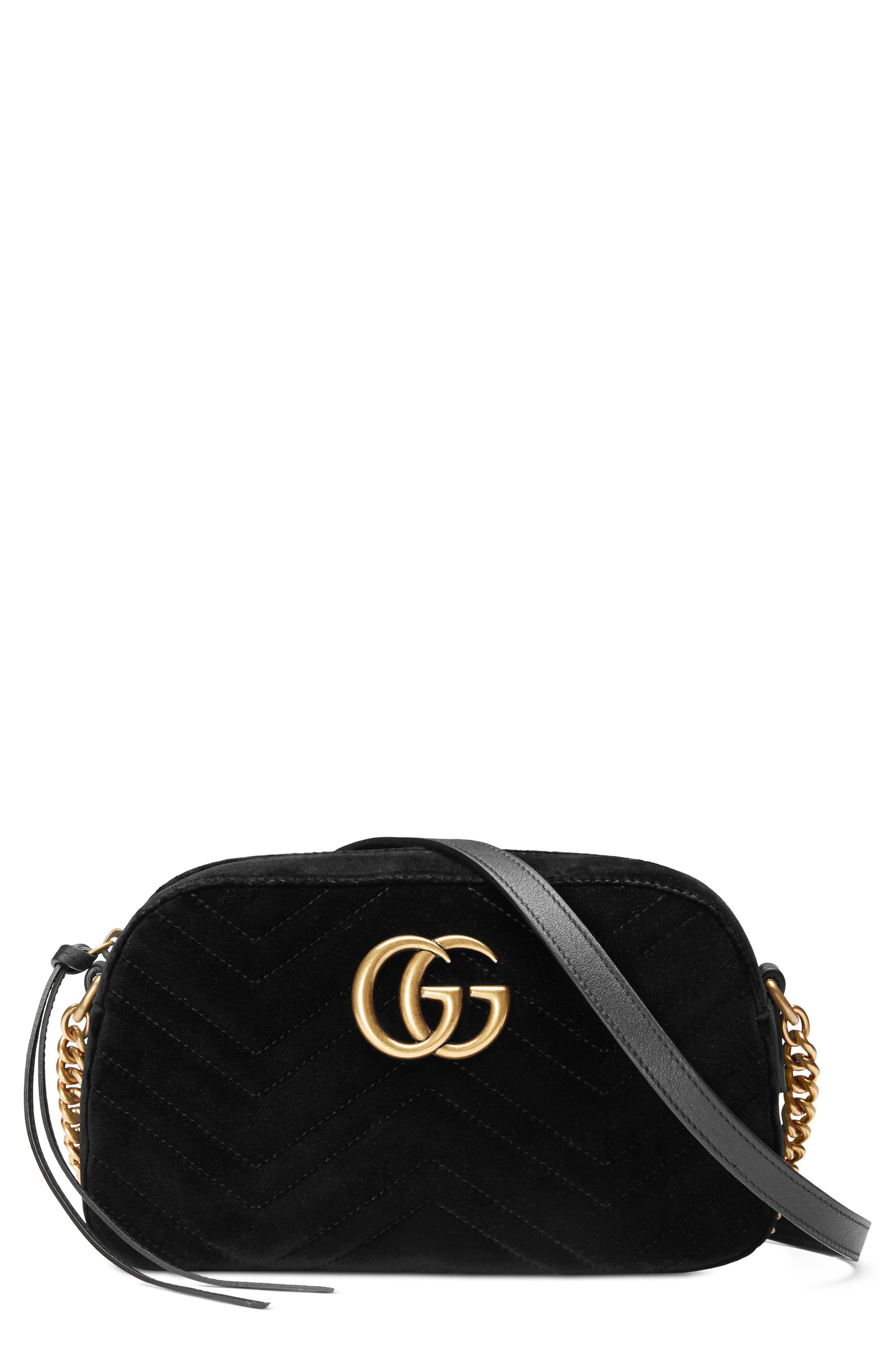 Small GG Marmont 2.0 Matelassé Velvet Shoulder Bag,                             Main thumbnail 1, color,                             NERO/ NERO
