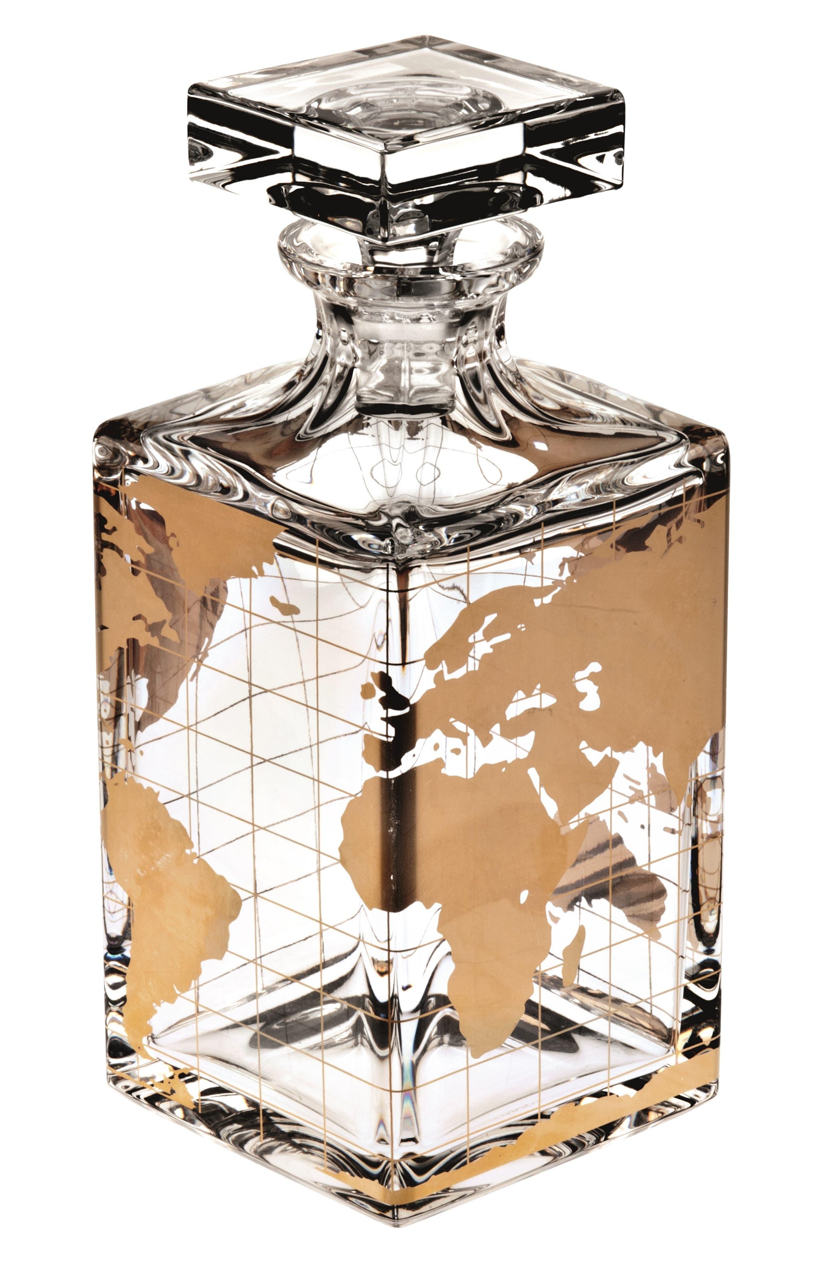 Atlas Lead Crystal Spirits Decanter, Main, color, GOLD