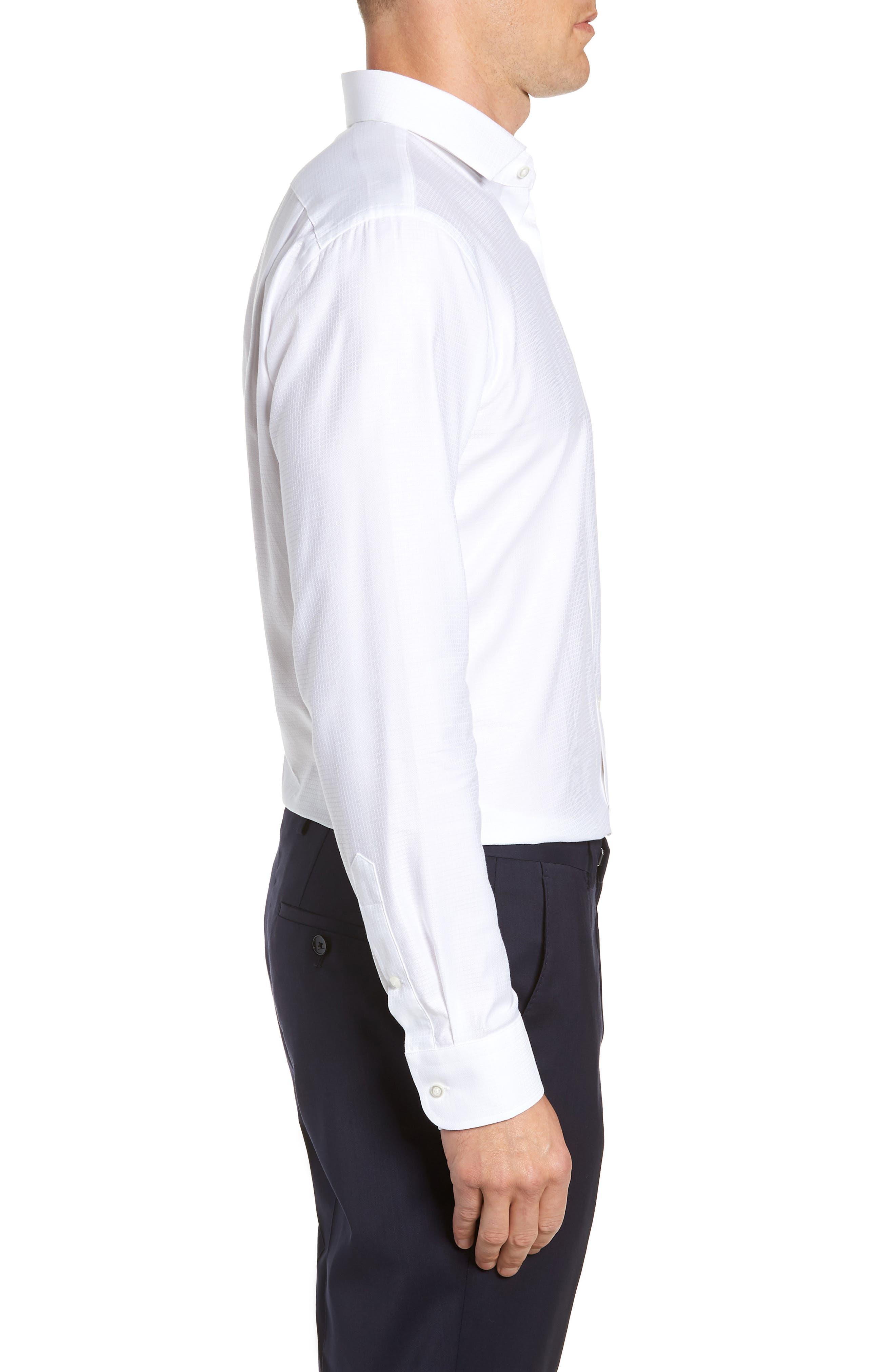 Trim Fit Check Dress Shirt,                             Alternate thumbnail 4, color,                             WHITE