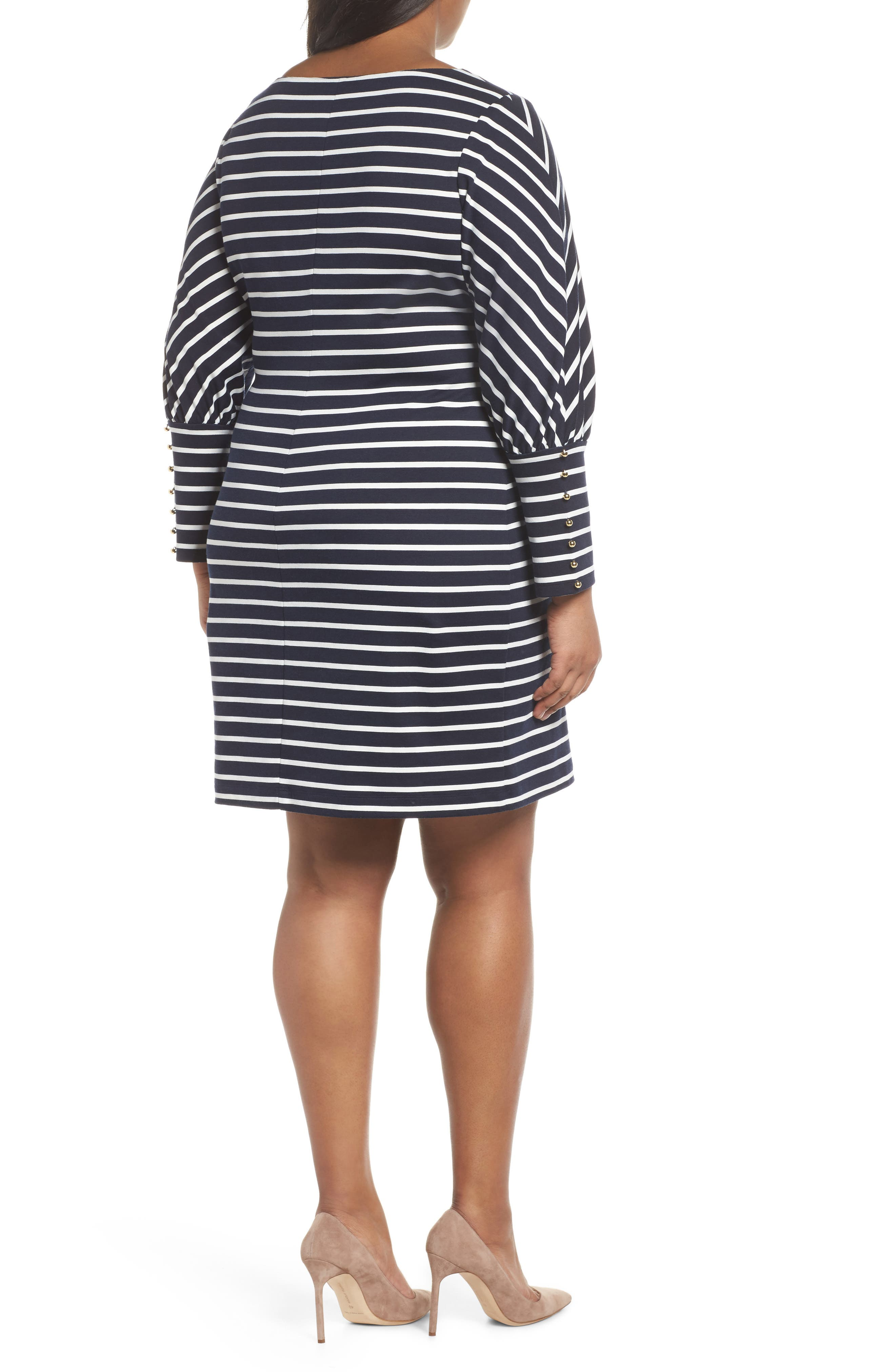 Stripe Ponte Shift Dress,                             Alternate thumbnail 2, color,                             407