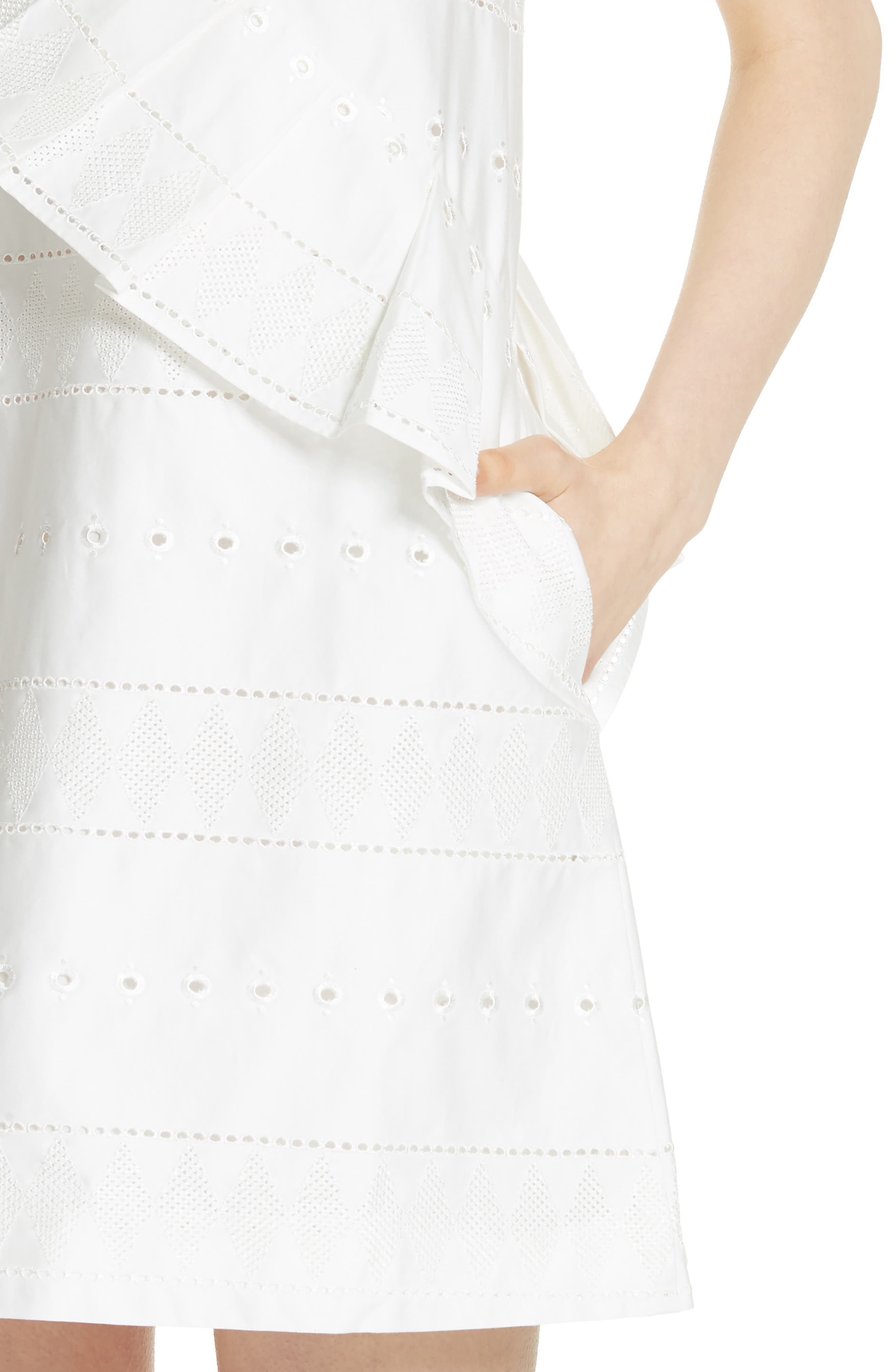 Embroidered Ruffle Stretch Cotton Shift Dress,                             Alternate thumbnail 4, color,                             110