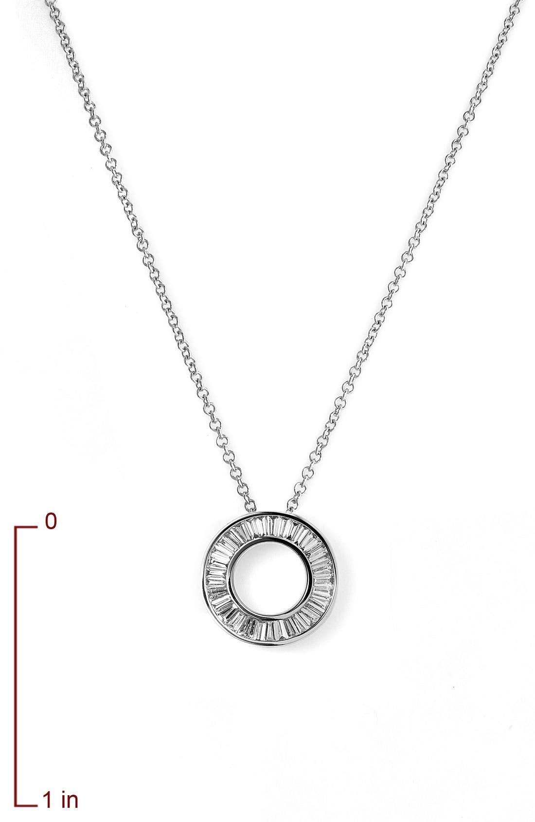 'Circle of Life' Small Diamond Pendant Necklace,                             Alternate thumbnail 6, color,                             WHITE GOLD
