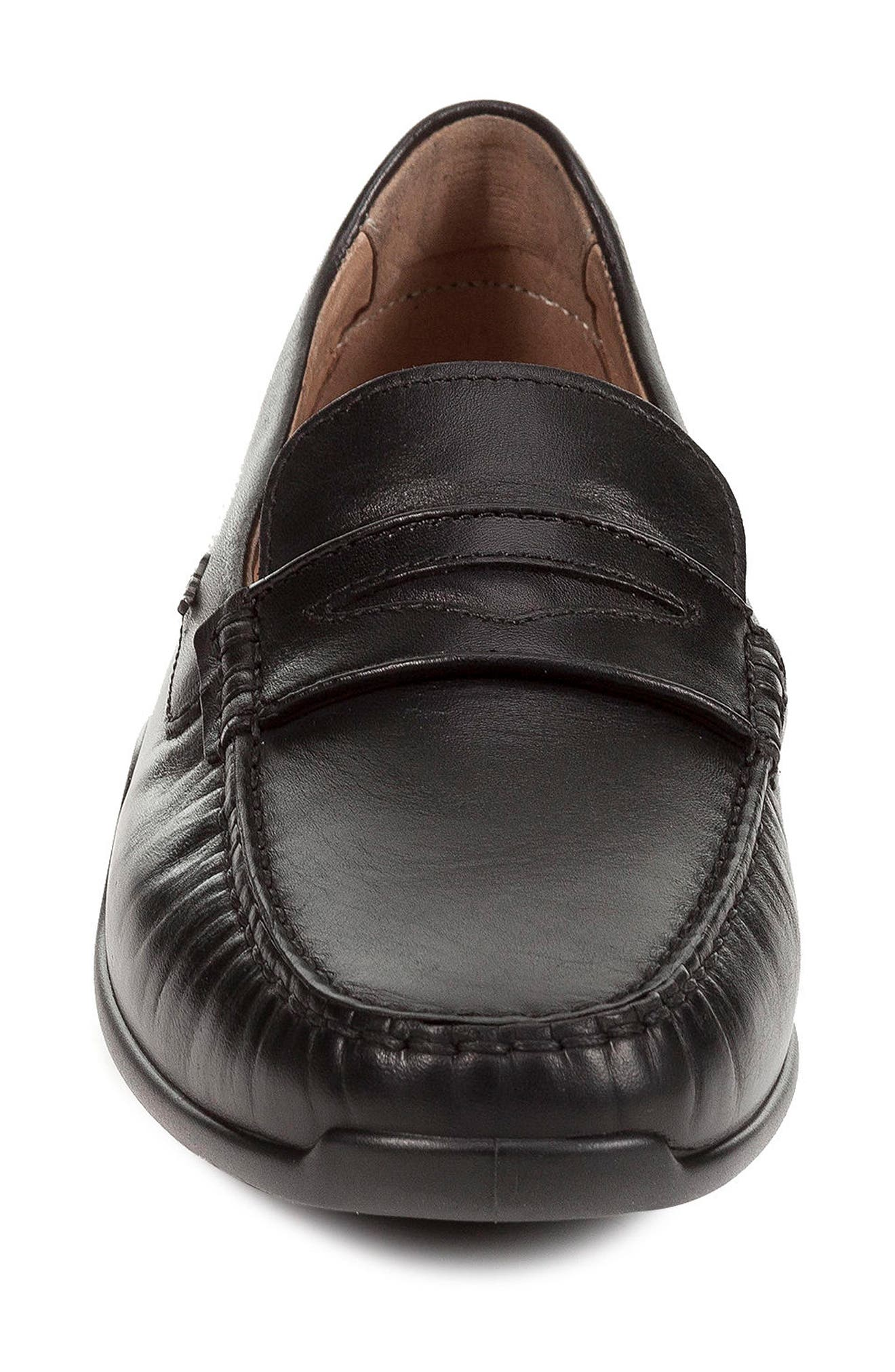 GEOX,                             Xense Penny Loafer,                             Alternate thumbnail 4, color,                             BLACK LEATHER