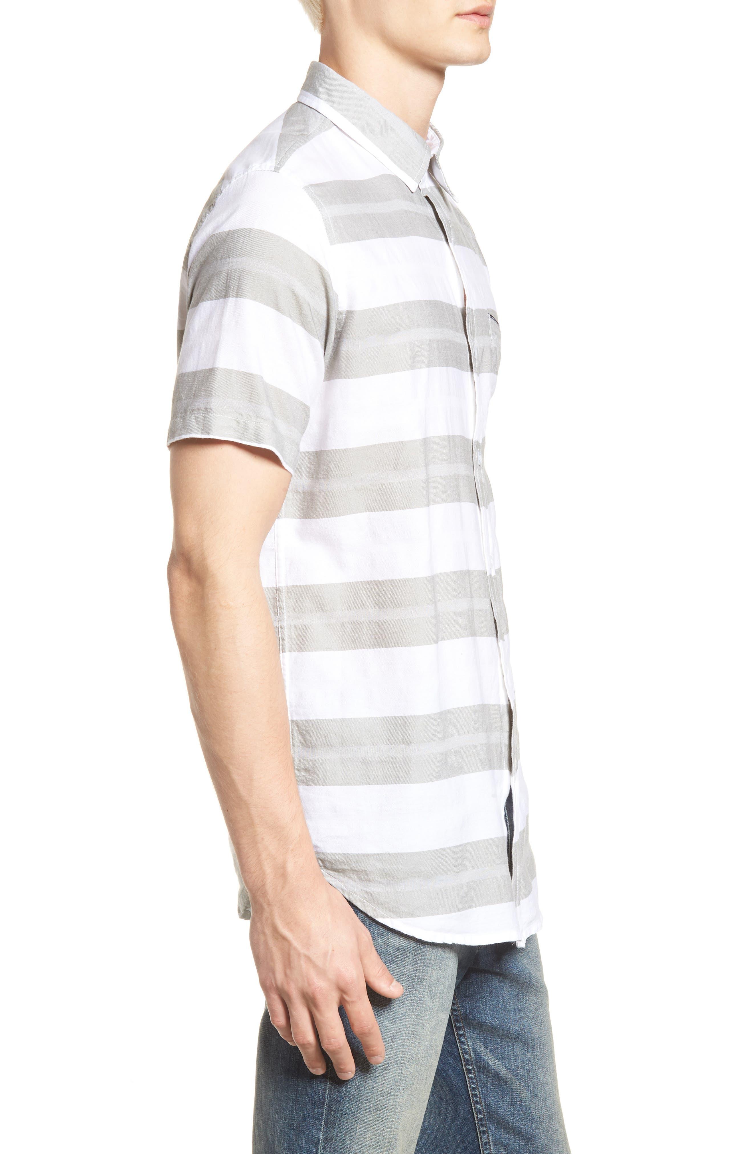 Dobson Woven Shirt,                             Alternate thumbnail 3, color,                             WHITE/SMOKE STRIPE