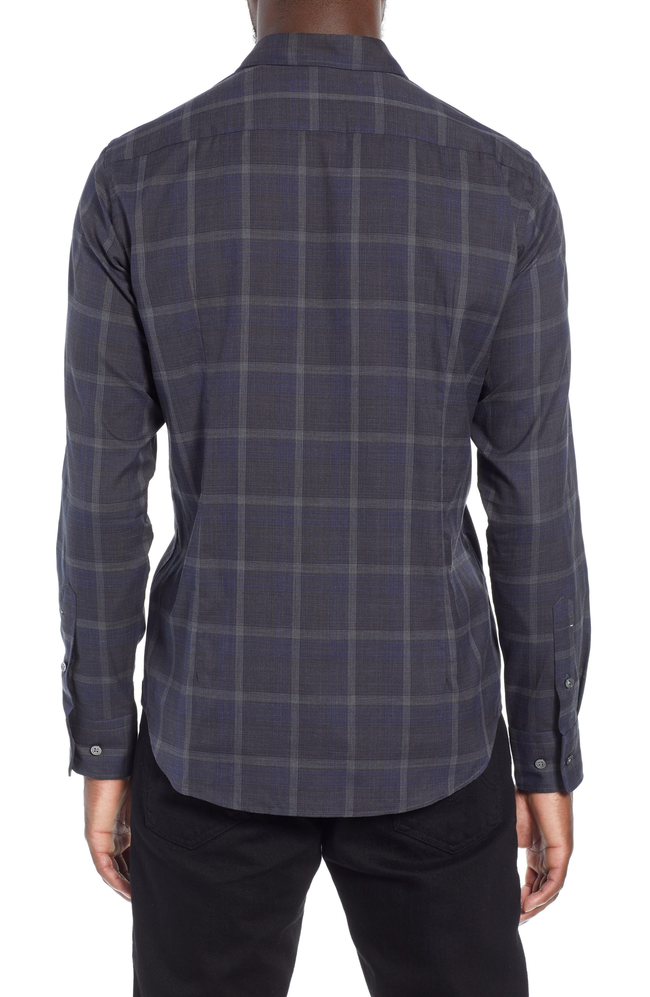 T-Riccardo Slim Fit Plaid Flannel Sport Shirt,                             Alternate thumbnail 3, color,                             BLUE