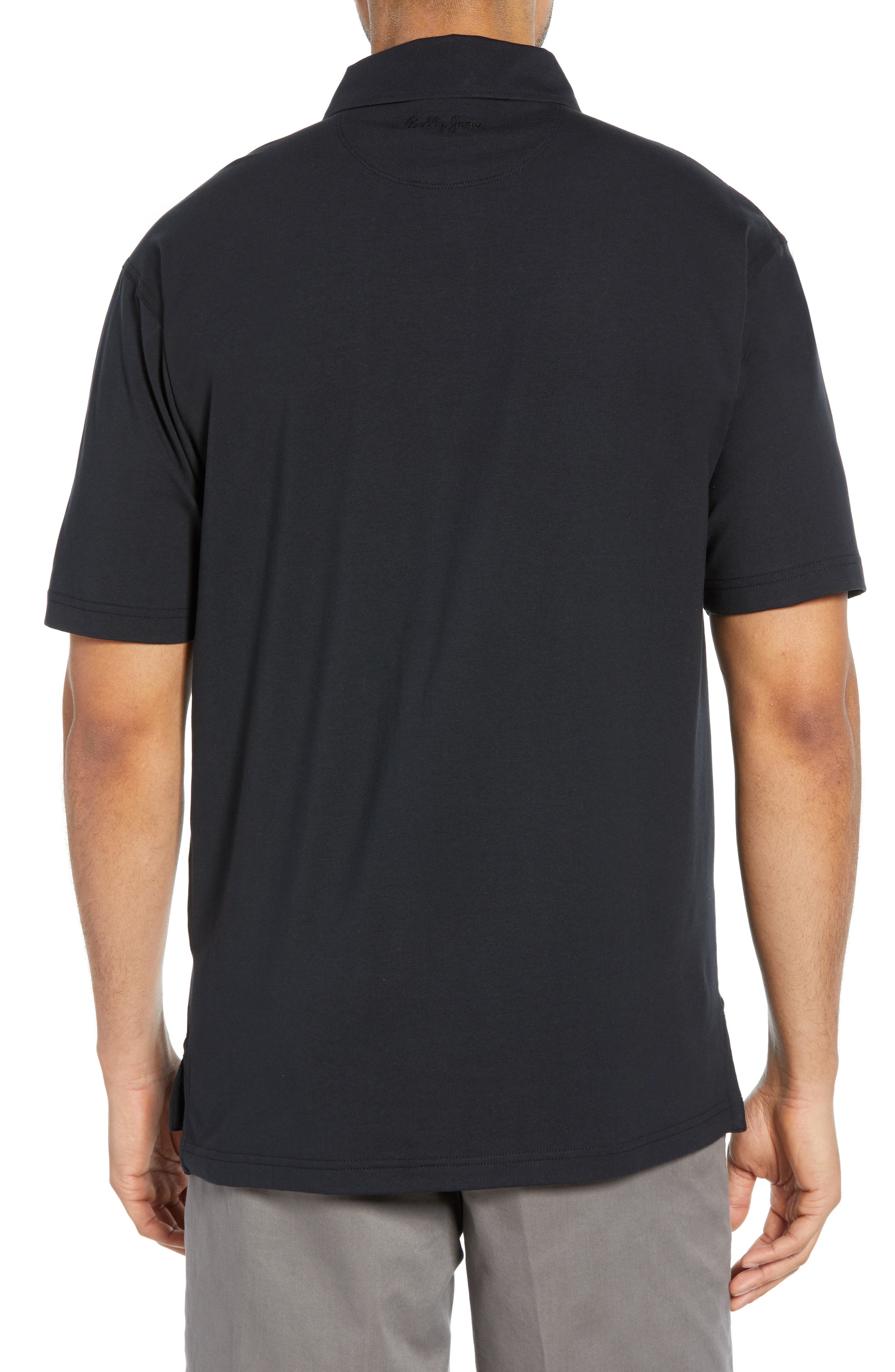 BOBBY JONES,                             Liquid Cotton Stretch Jersey Polo,                             Alternate thumbnail 2, color,                             BLACK