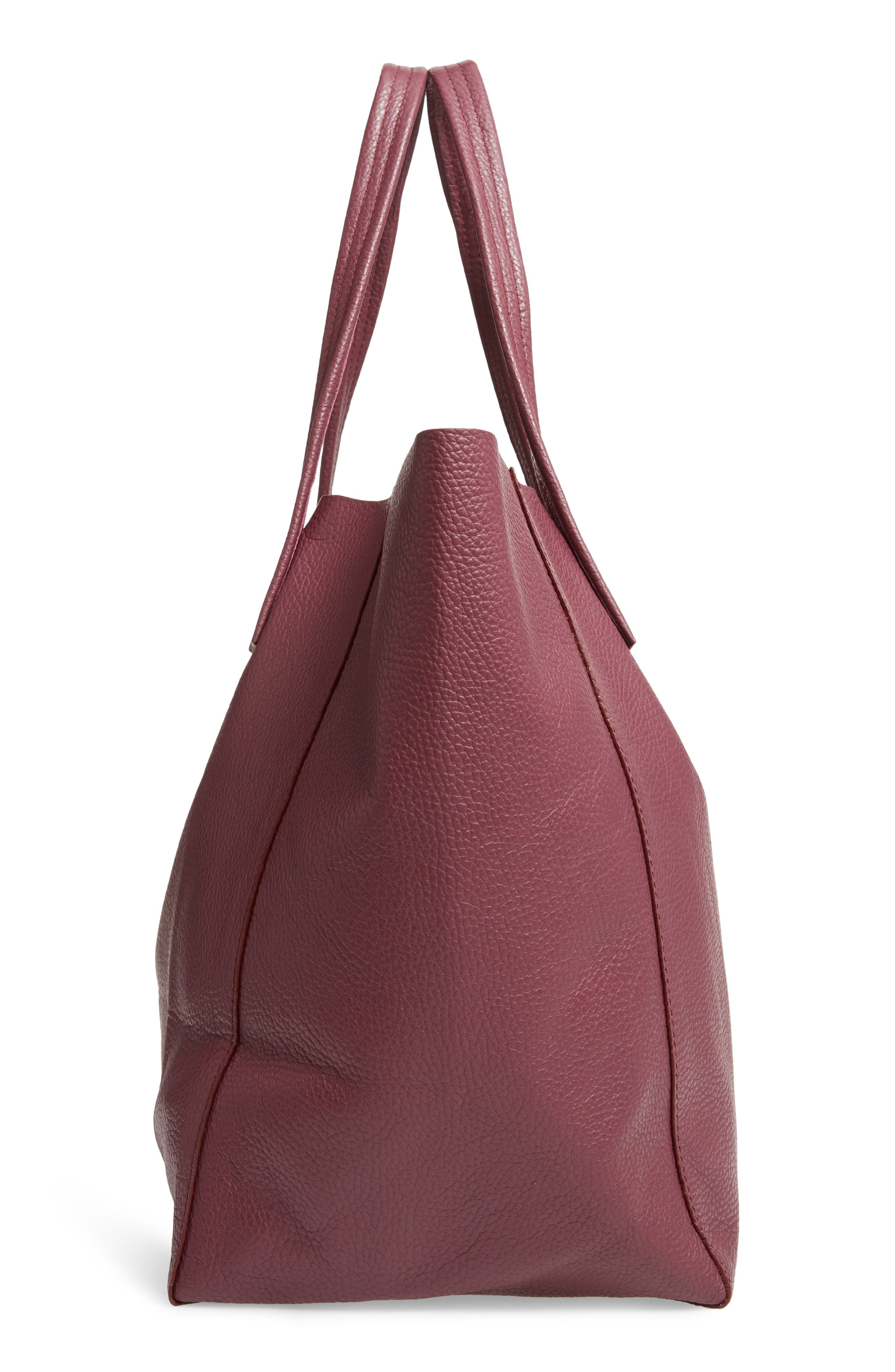 Violet Leather Tote,                             Alternate thumbnail 5, color,                             RED/ OTHER