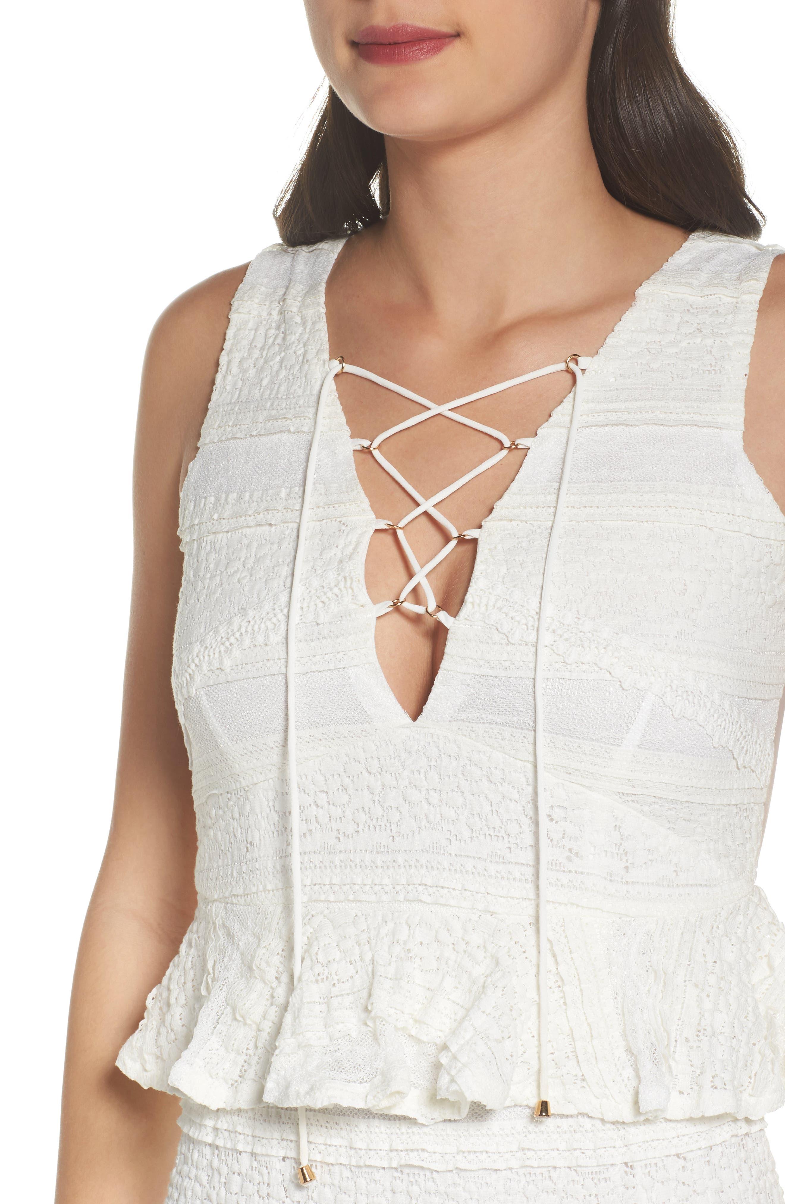 Makayla Peplum Lace Maxi Dress,                             Alternate thumbnail 4, color,                             901