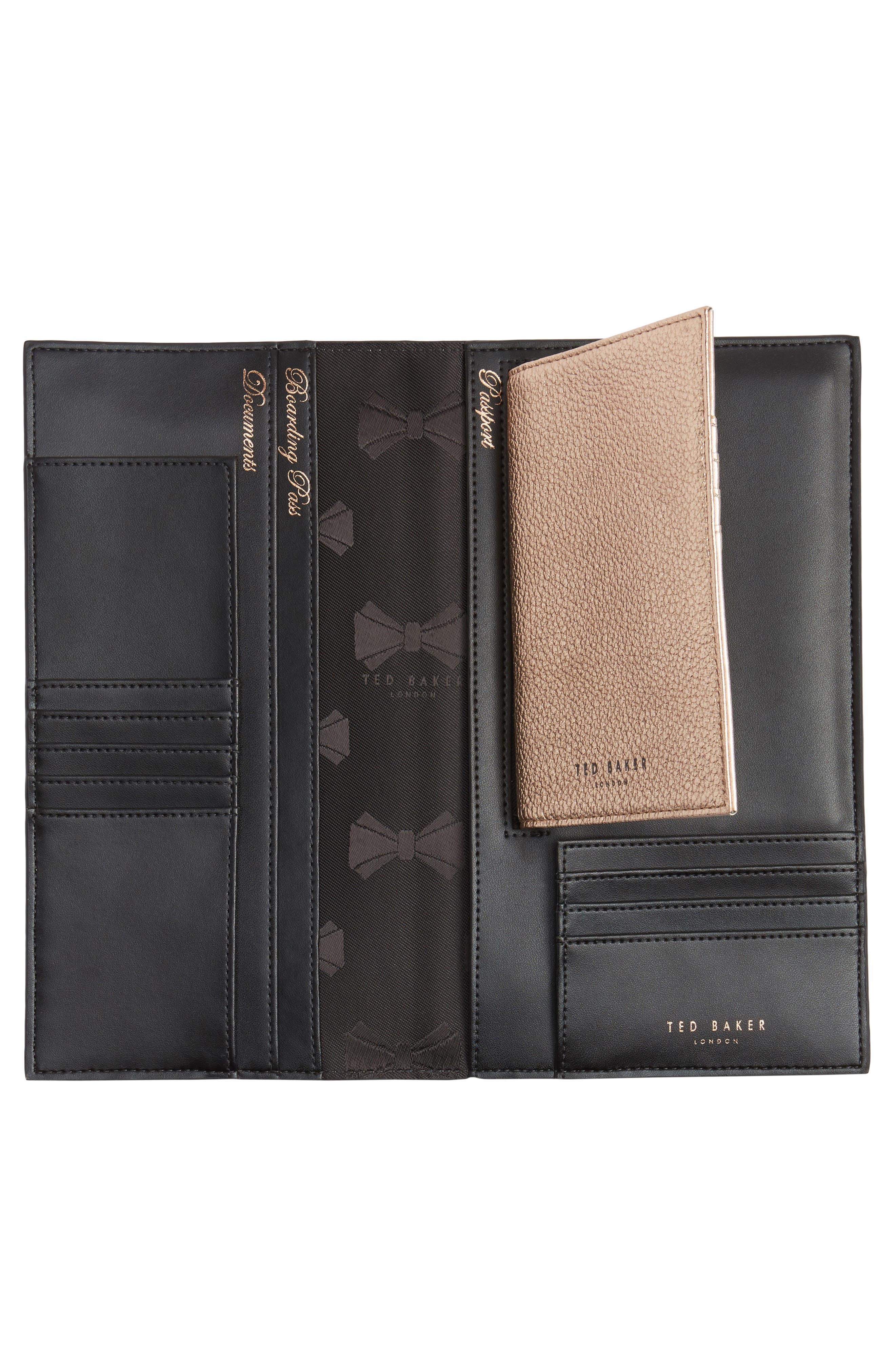Dolle Leather Travel Wallet,                             Alternate thumbnail 4, color,                             001