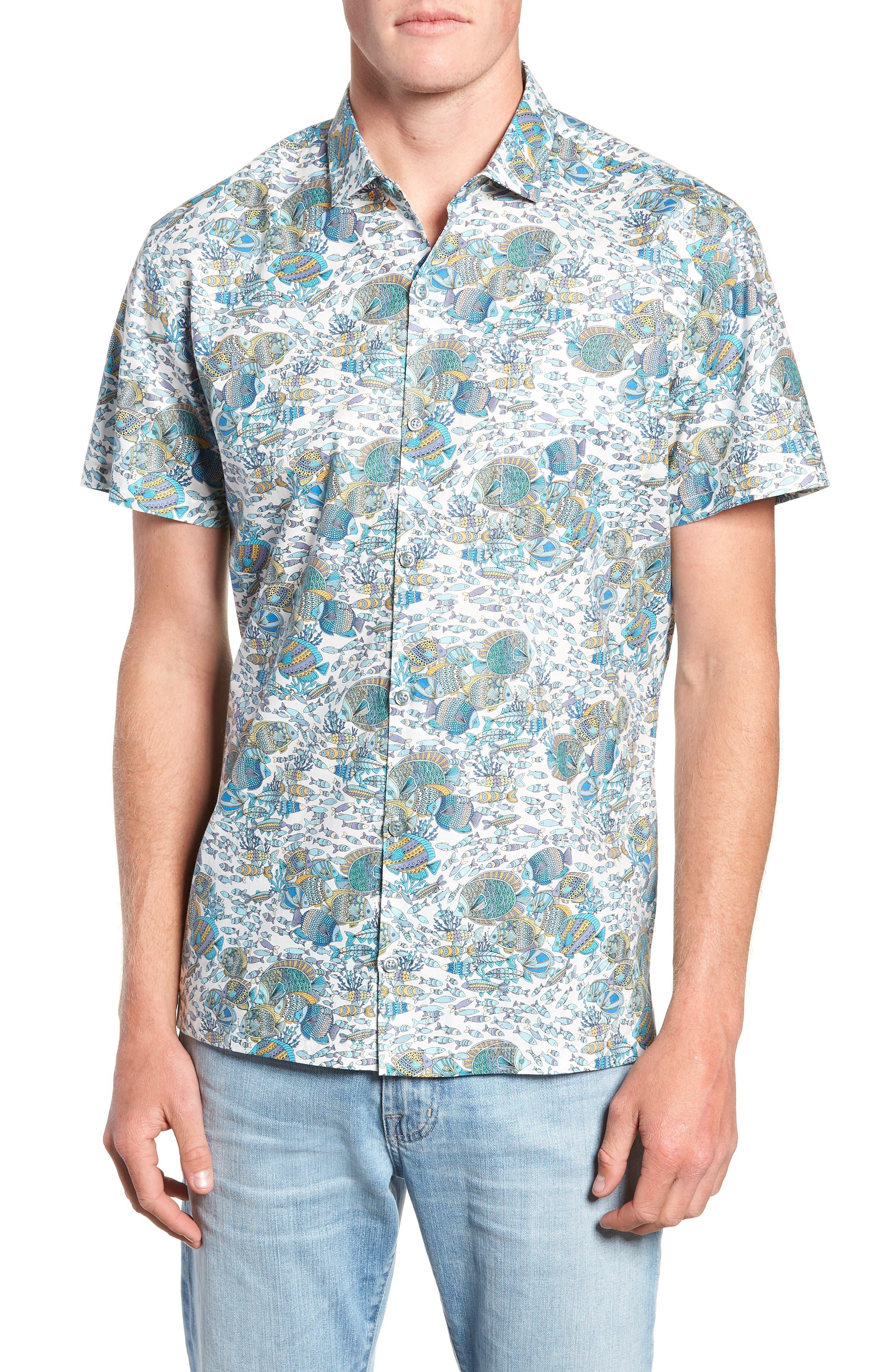 Crowdsource Trim Fit Camp Shirt,                             Main thumbnail 1, color,                             100