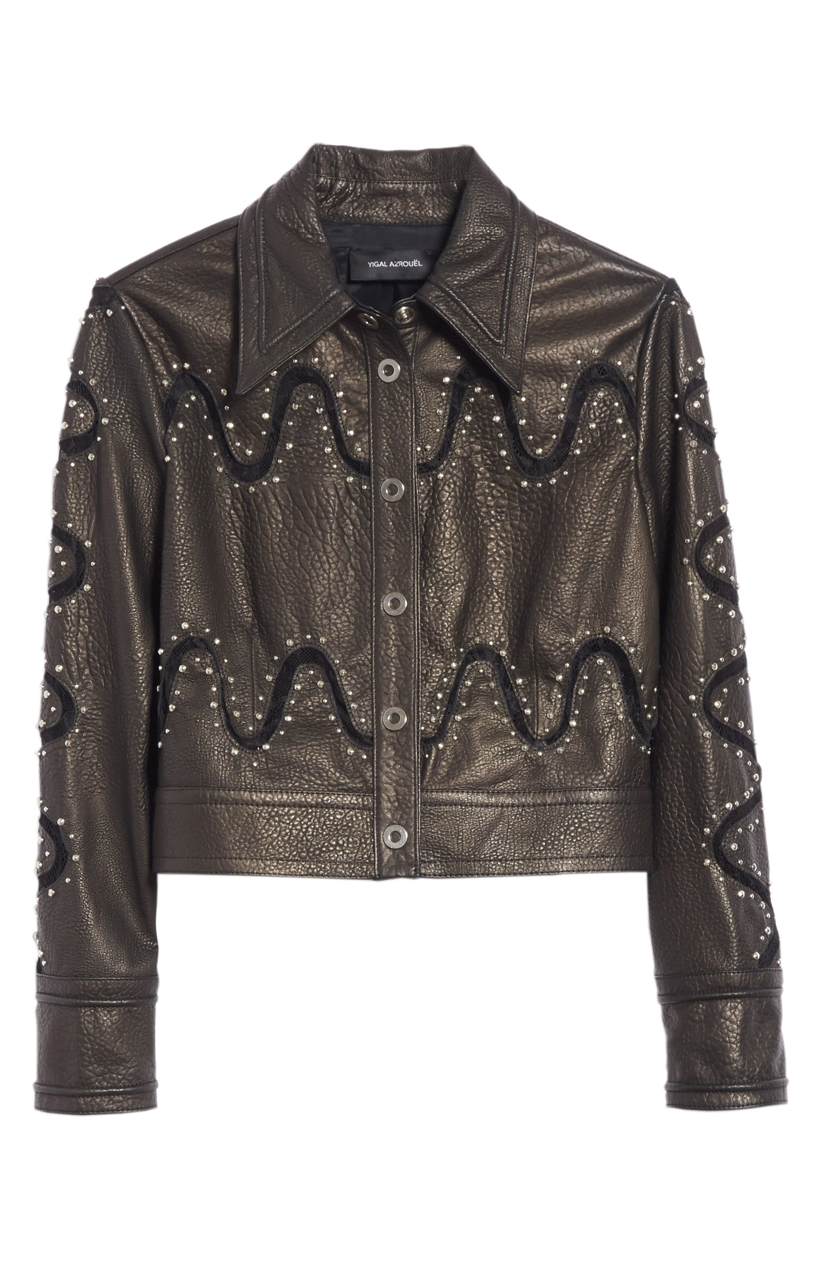 Studded Lace Inset Leather Jacket,                             Alternate thumbnail 5, color,                             010