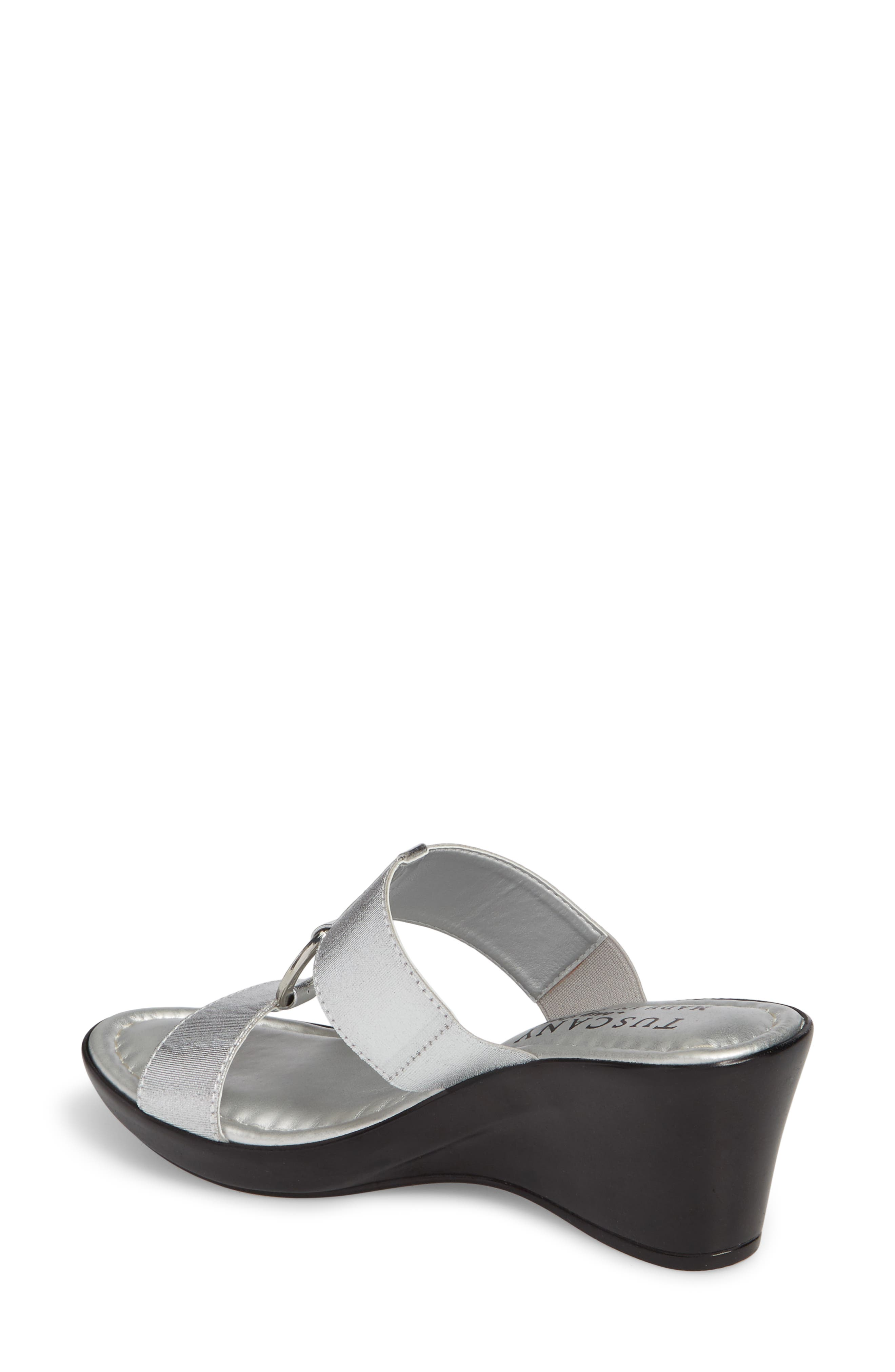 by Easy Street<sup>®</sup> Marietta Slide Sandal,                             Alternate thumbnail 2, color,                             SILVER PATENT FAUX LEATHER
