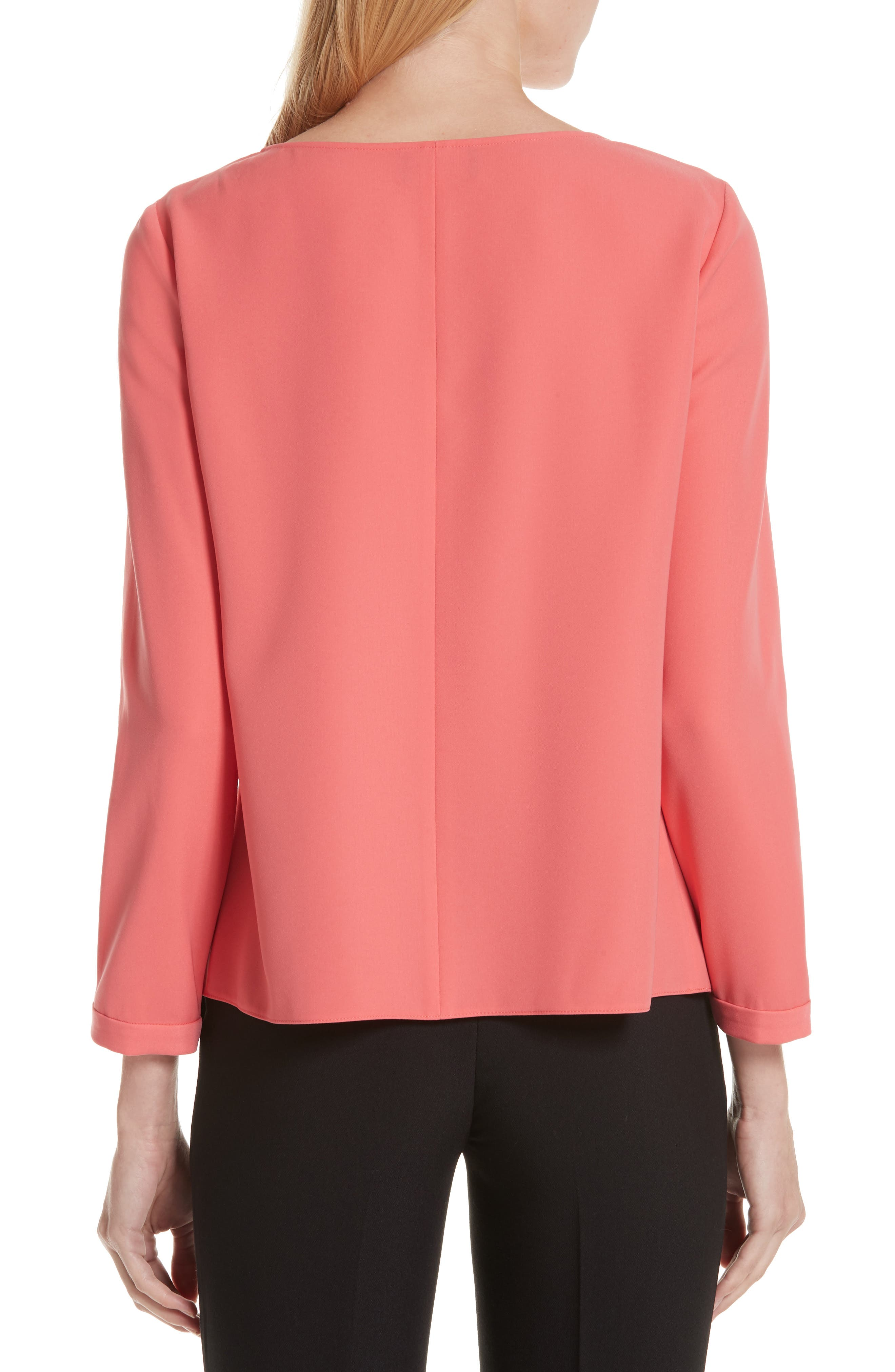 EMPORIO ARMANI,                             Asymmetrical Blouse,                             Alternate thumbnail 2, color,                             SUNRISE RED