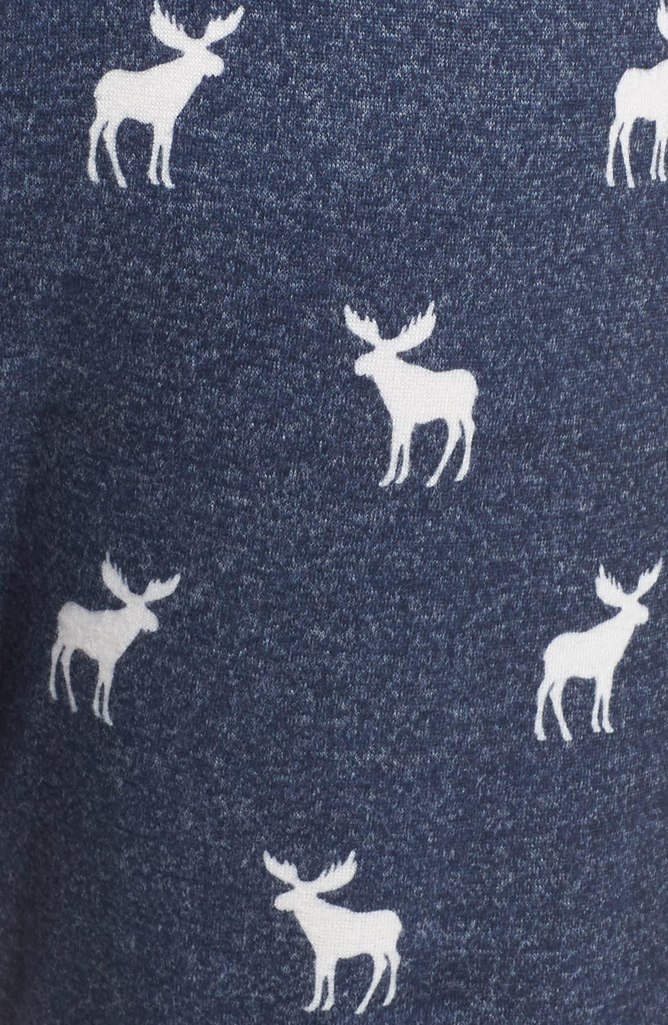 Moose Print Banded Pajama Pants,                             Alternate thumbnail 5, color,                             NAVY