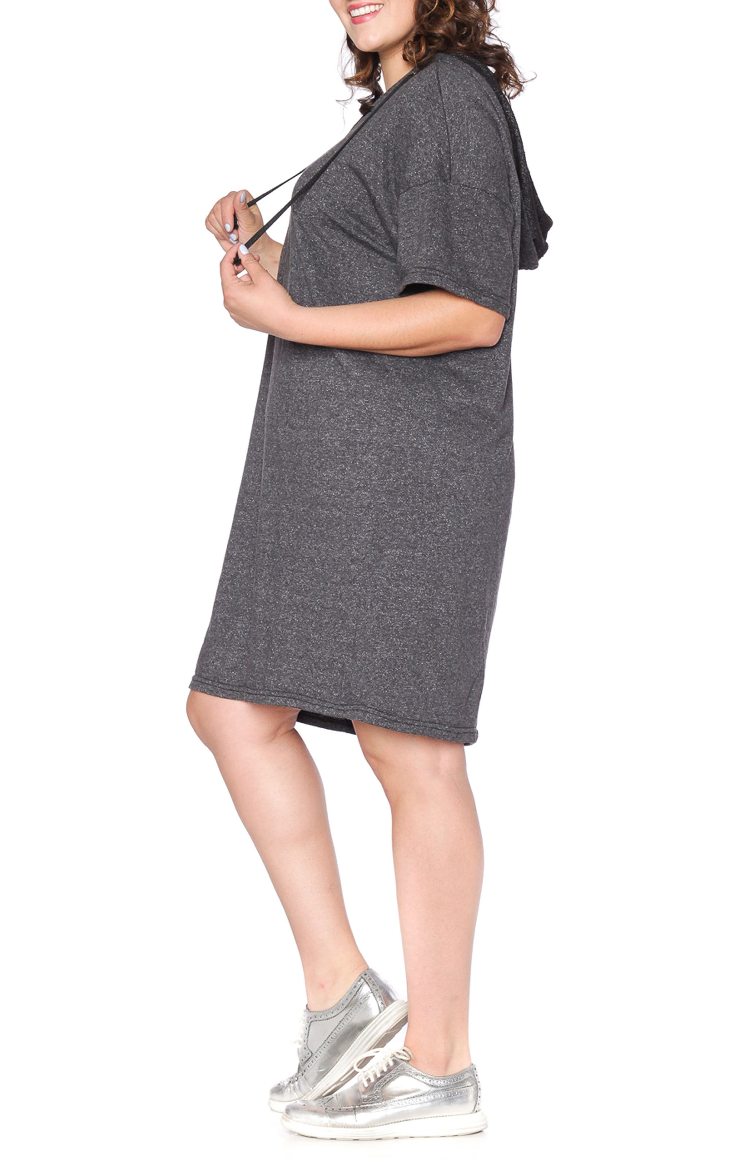 Lace-Up Hoodie Dress,                             Alternate thumbnail 4, color,                             018