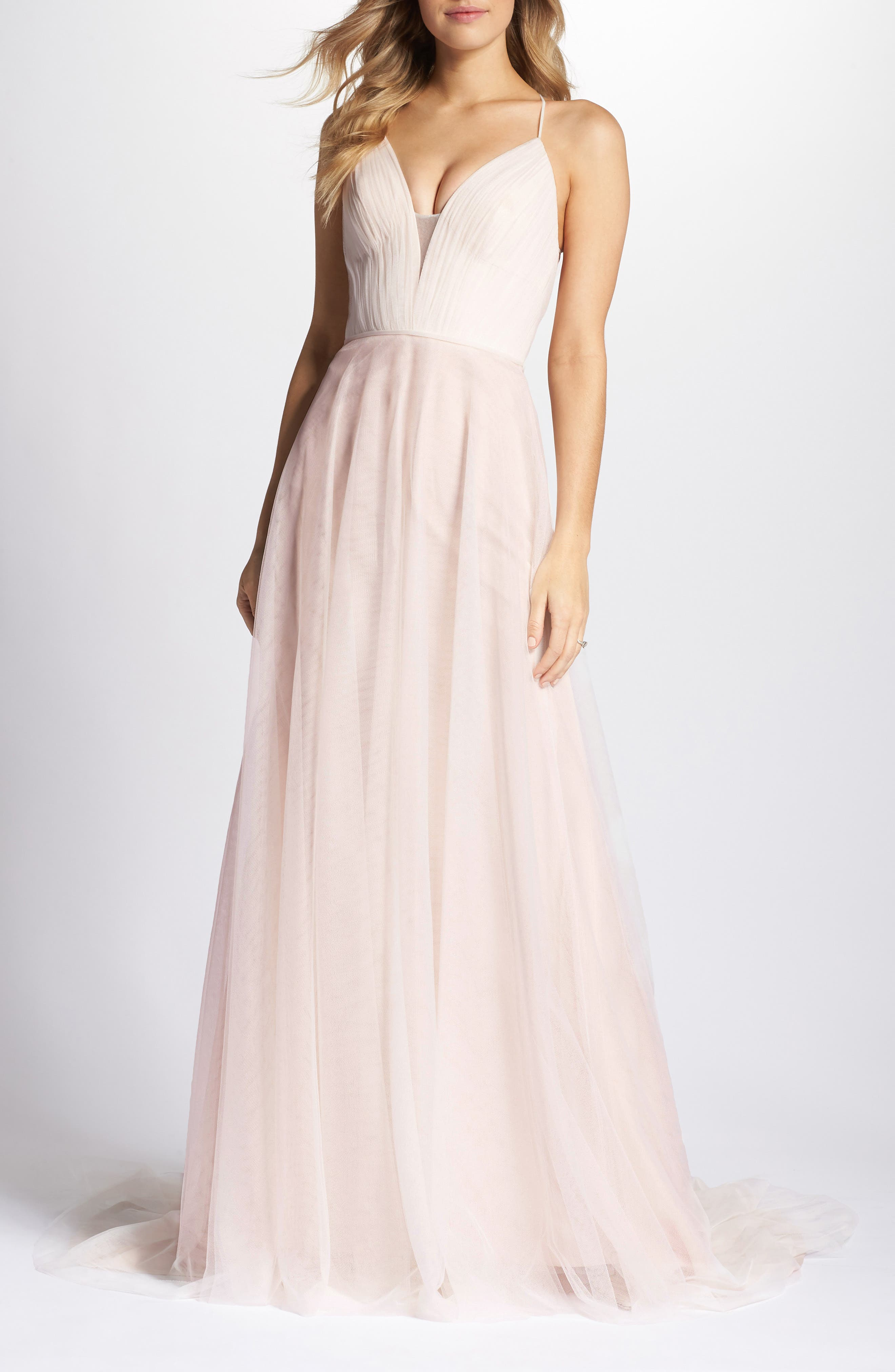 Plunging A-Line Gown,                             Main thumbnail 1, color,                             IVORY/TEA ROSE