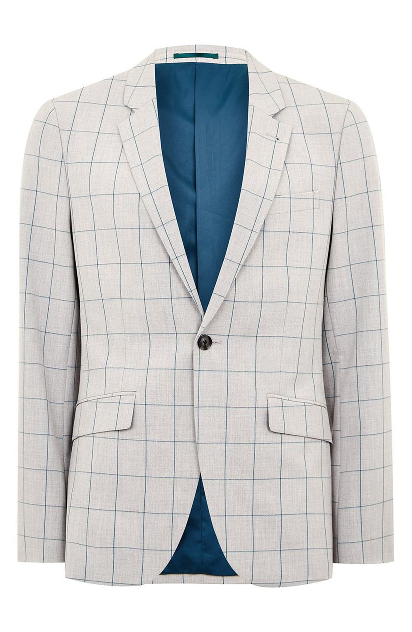 Muscle Fit Check Suit Jacket,                             Alternate thumbnail 3, color,                             GREEN MULTI