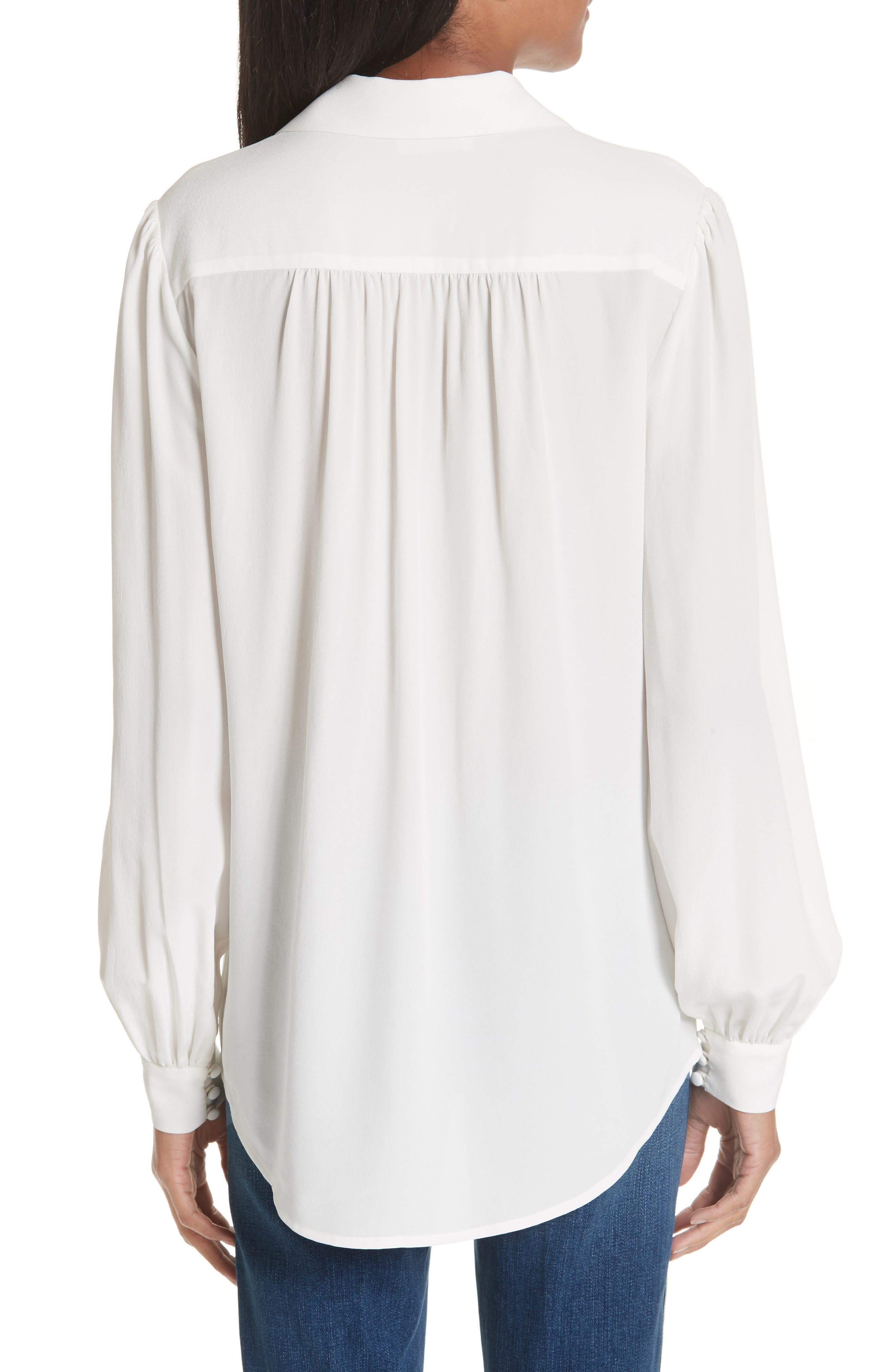 Cinzia Side Button Silk Blouse,                             Alternate thumbnail 2, color,                             IVORY