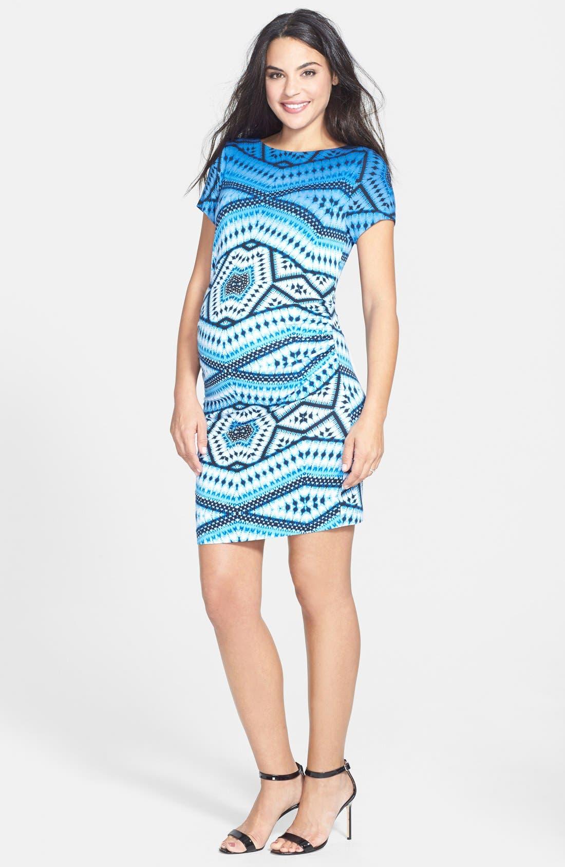 'Leilah' Body-Con Print Maternity Dress,                             Alternate thumbnail 8, color,