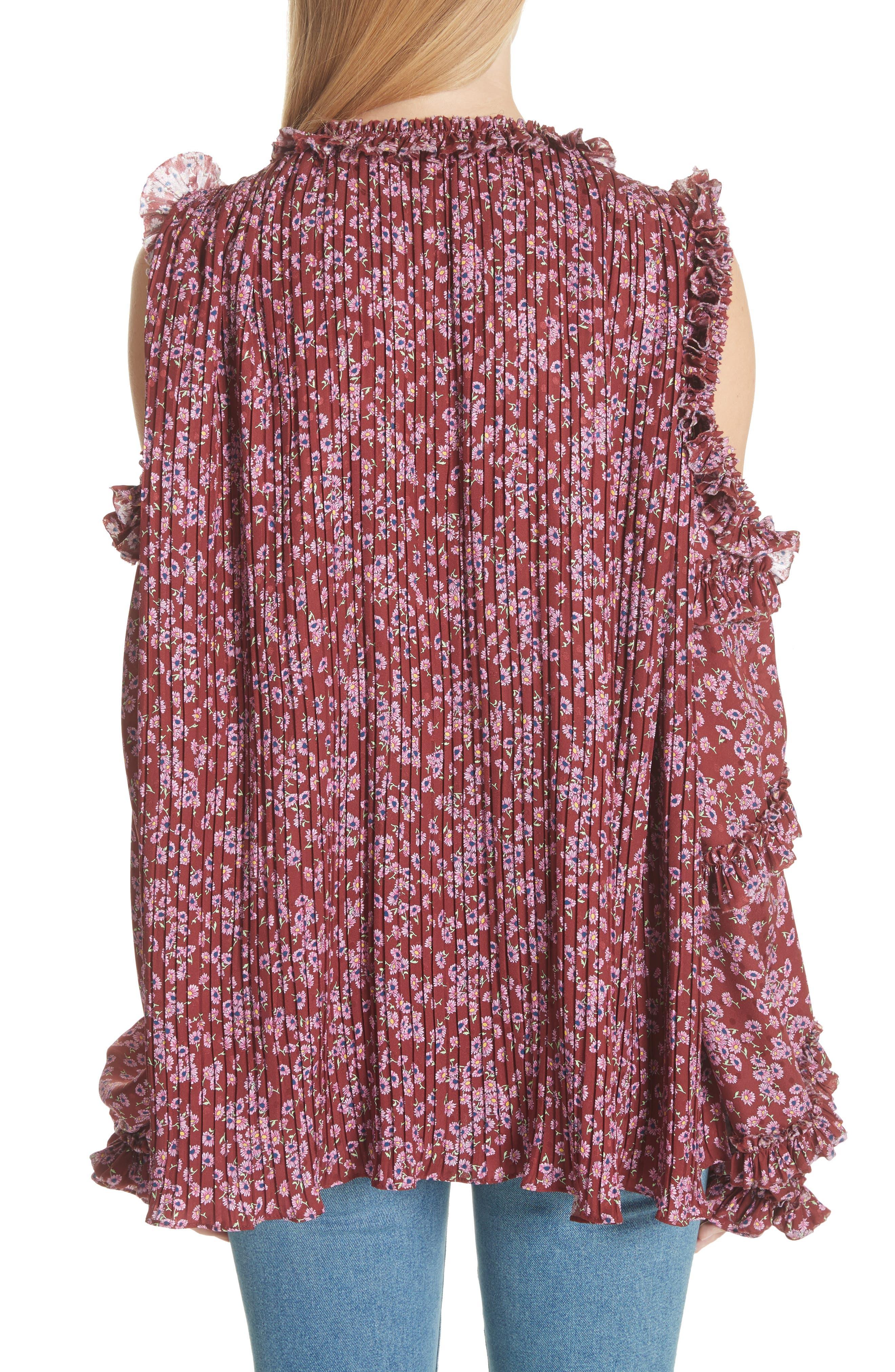 Floral Silk Cold Shoulder Top,                             Alternate thumbnail 2, color,                             930