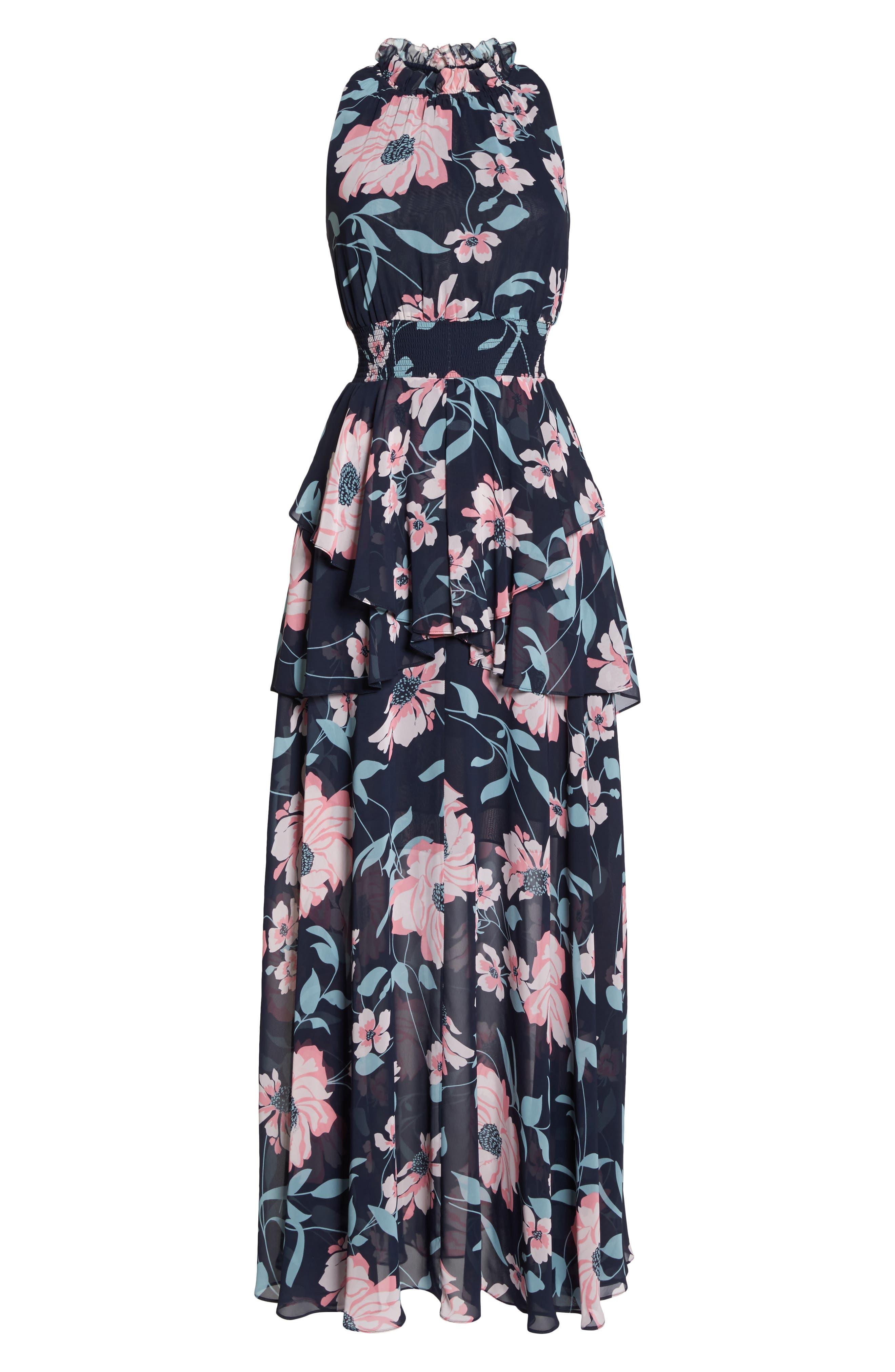 Floral Maxi Dress,                             Alternate thumbnail 6, color,
