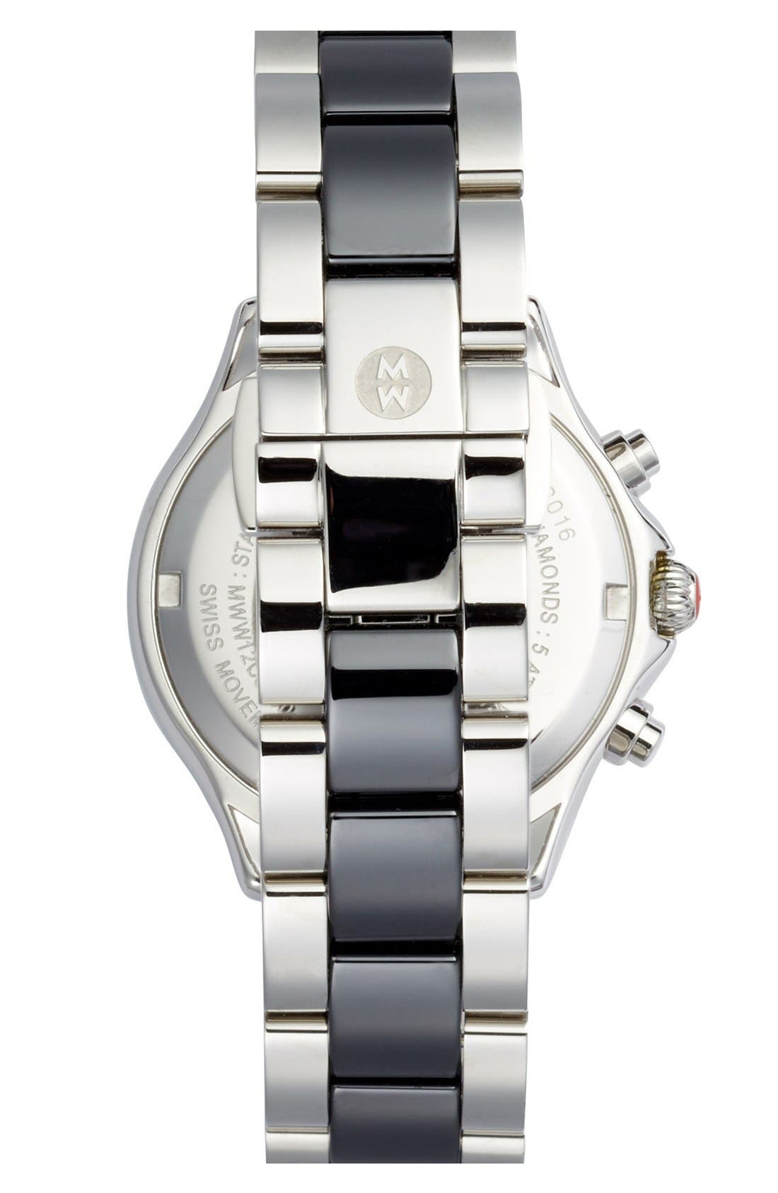 'Tahitian' Stainless Steel Ceramic Diamond Watch, 35mm,                             Alternate thumbnail 3, color,                             001