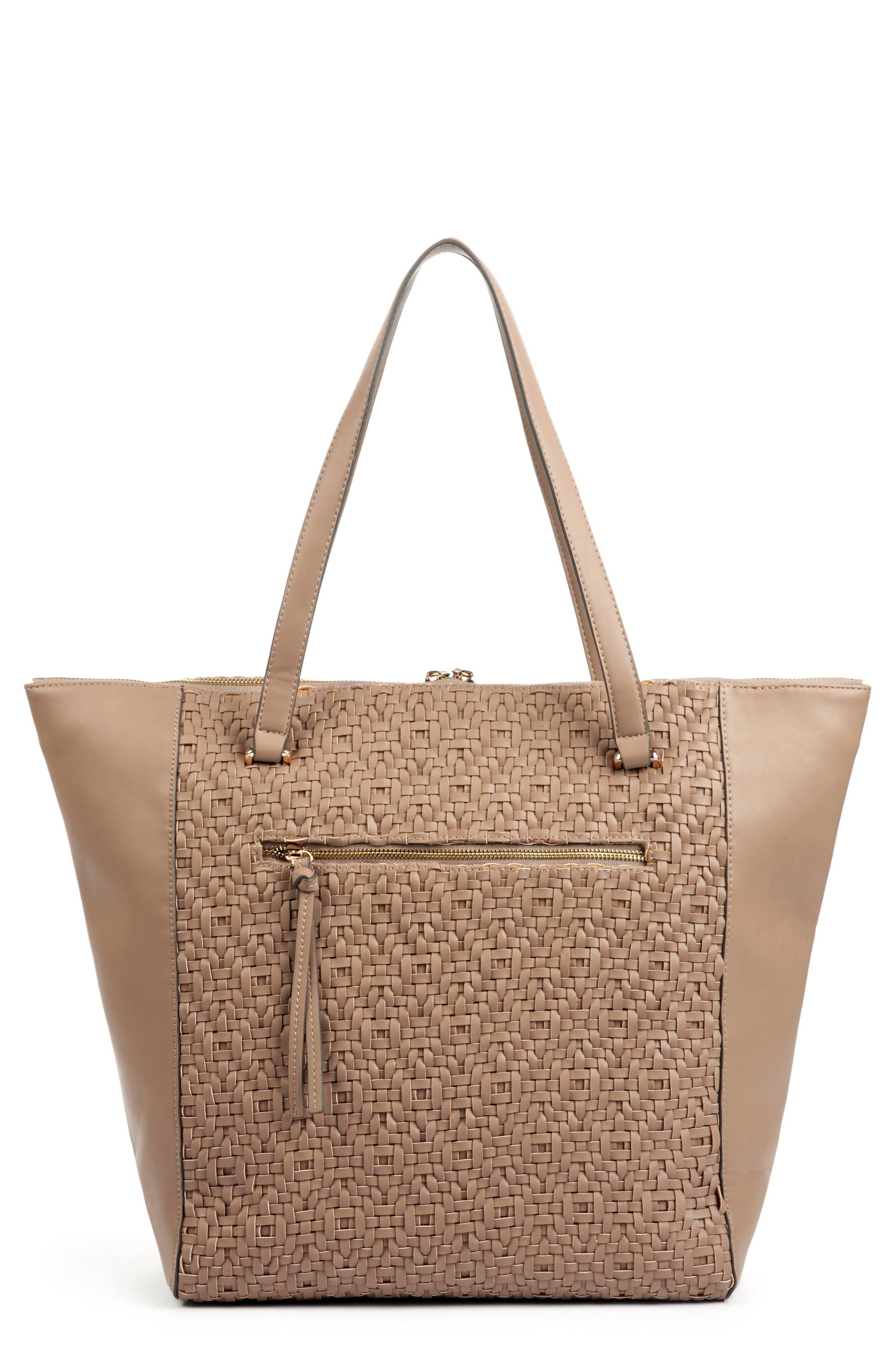 Woven Faux Leather Tote,                             Main thumbnail 2, color,