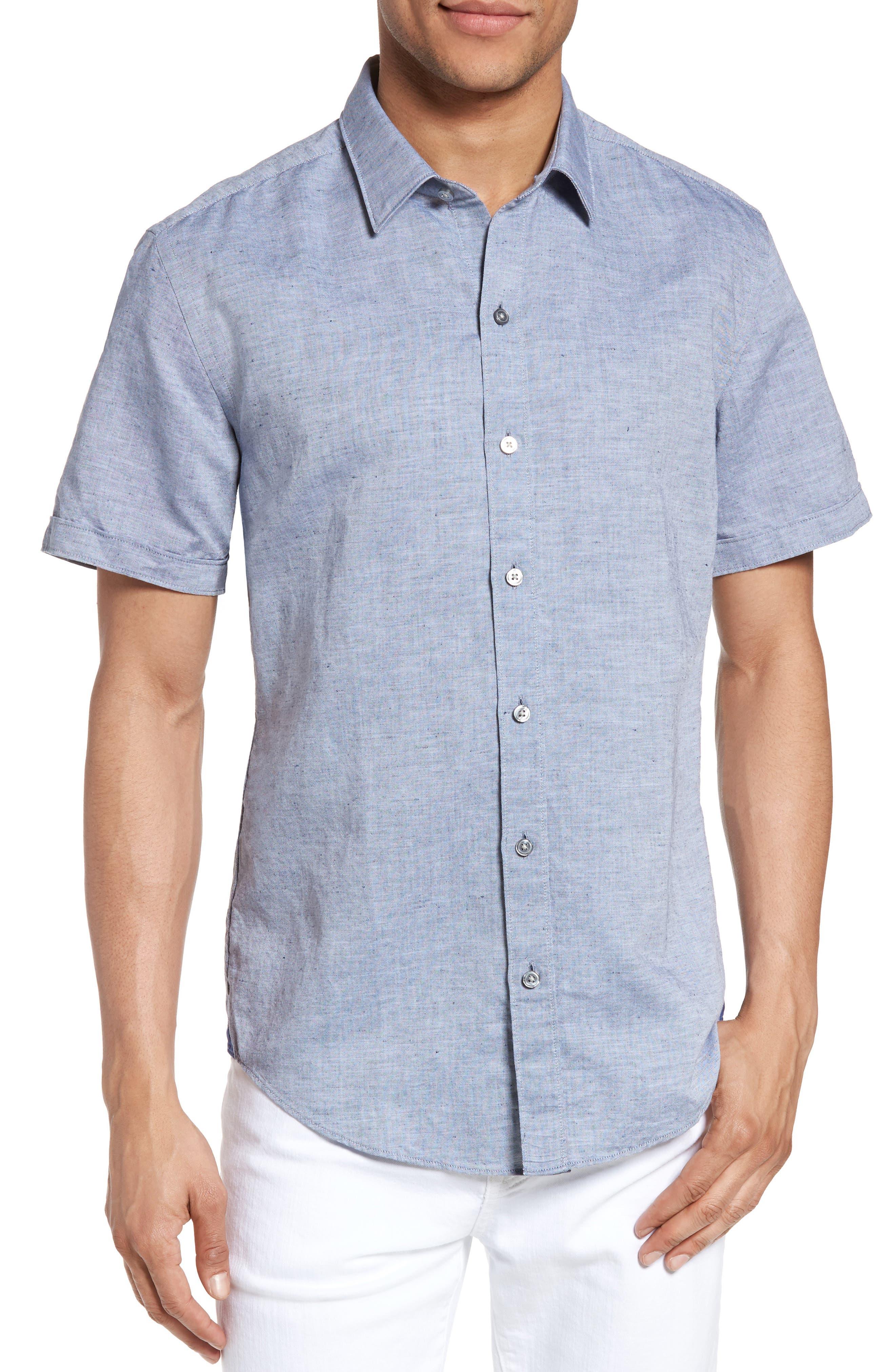 Robbie Slim Fit Linen & Cotton Shirt,                         Main,                         color, 402