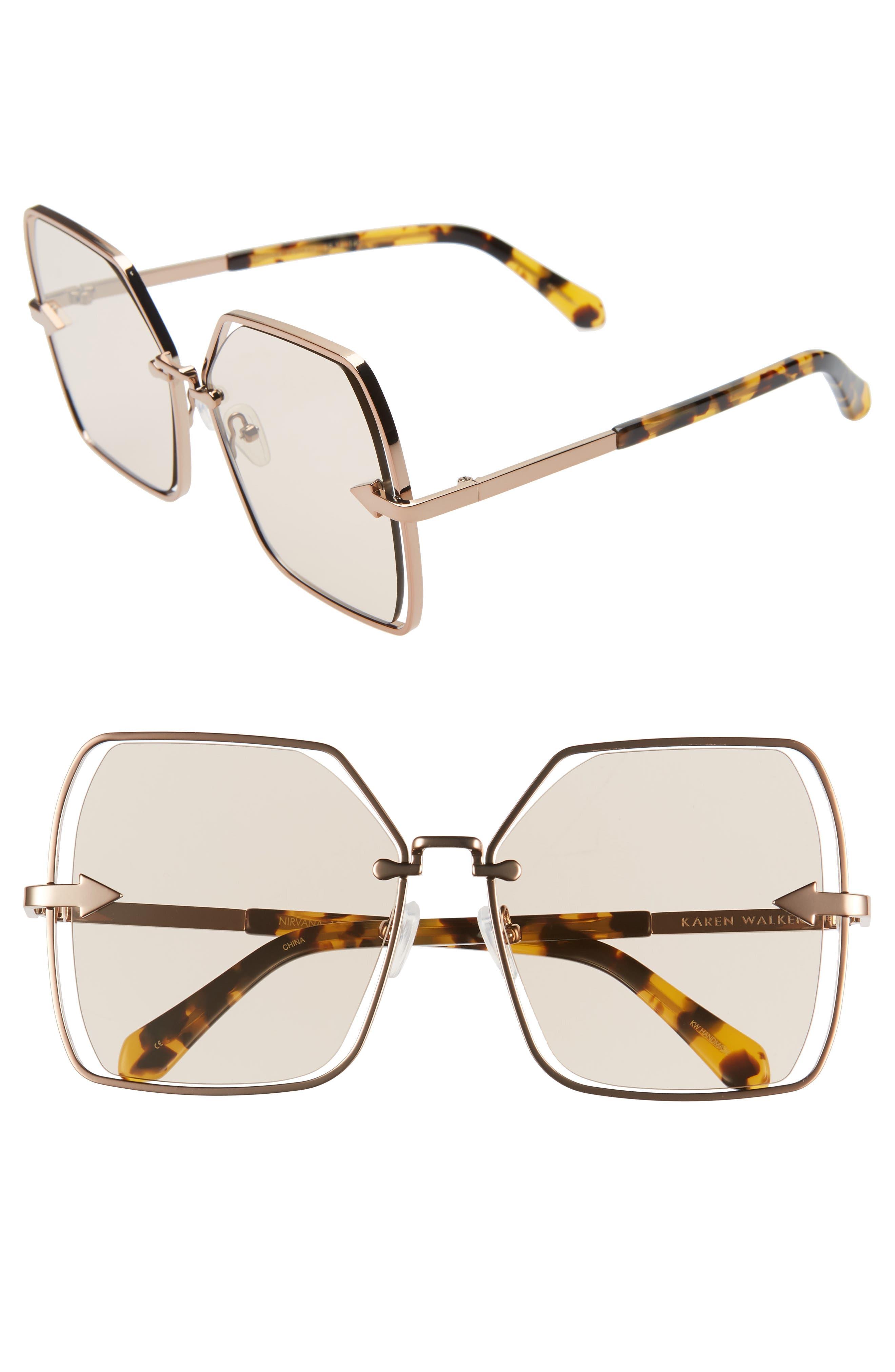 Karen Walker Sunglasses NIRVANA 58MM SQUARE BUTTERFLY SUNGLASSES - DARK GOLD/ TAN TINT