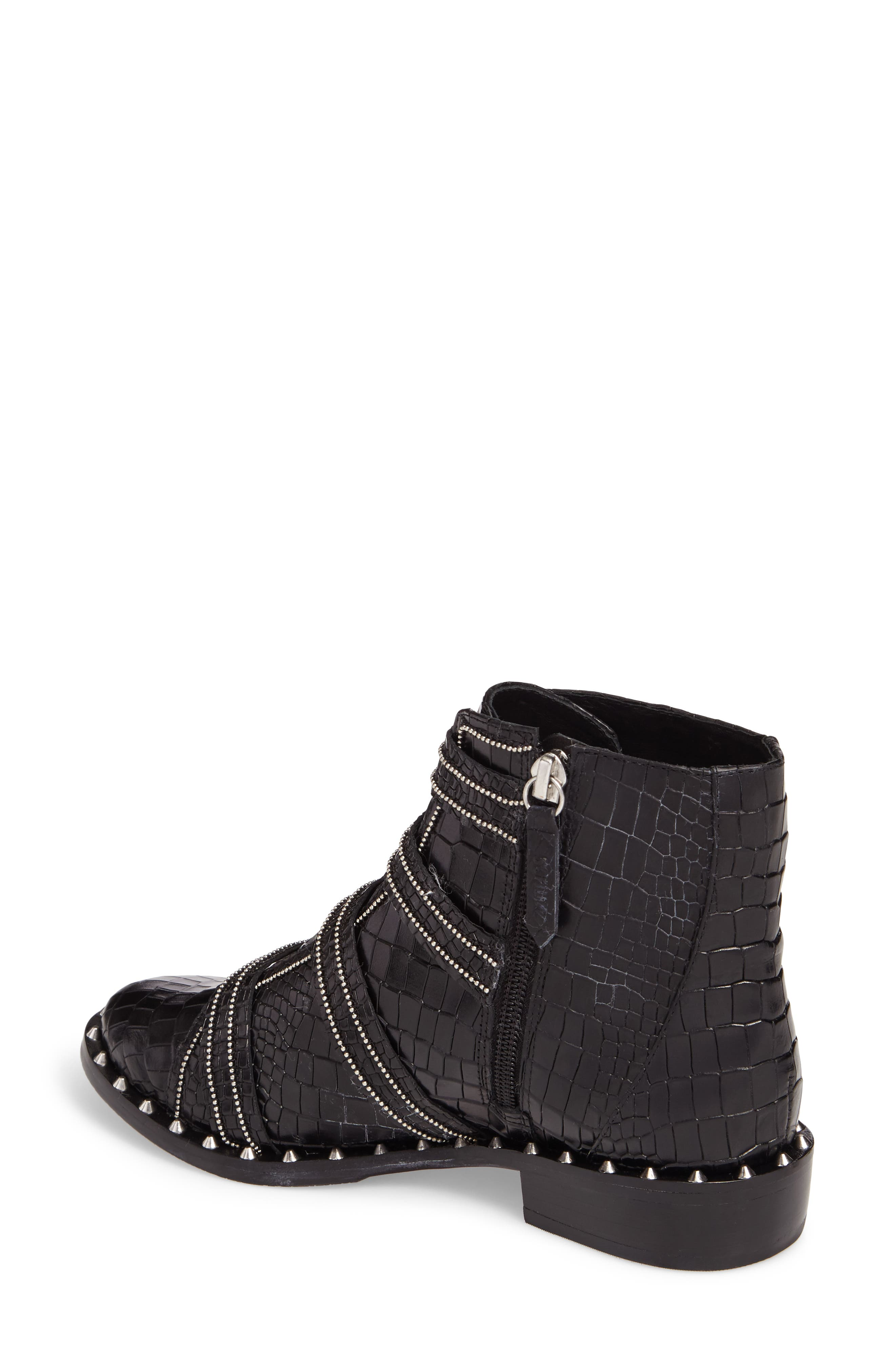 Darcey Studded Croc Embossed Bootie,                             Alternate thumbnail 2, color,                             001