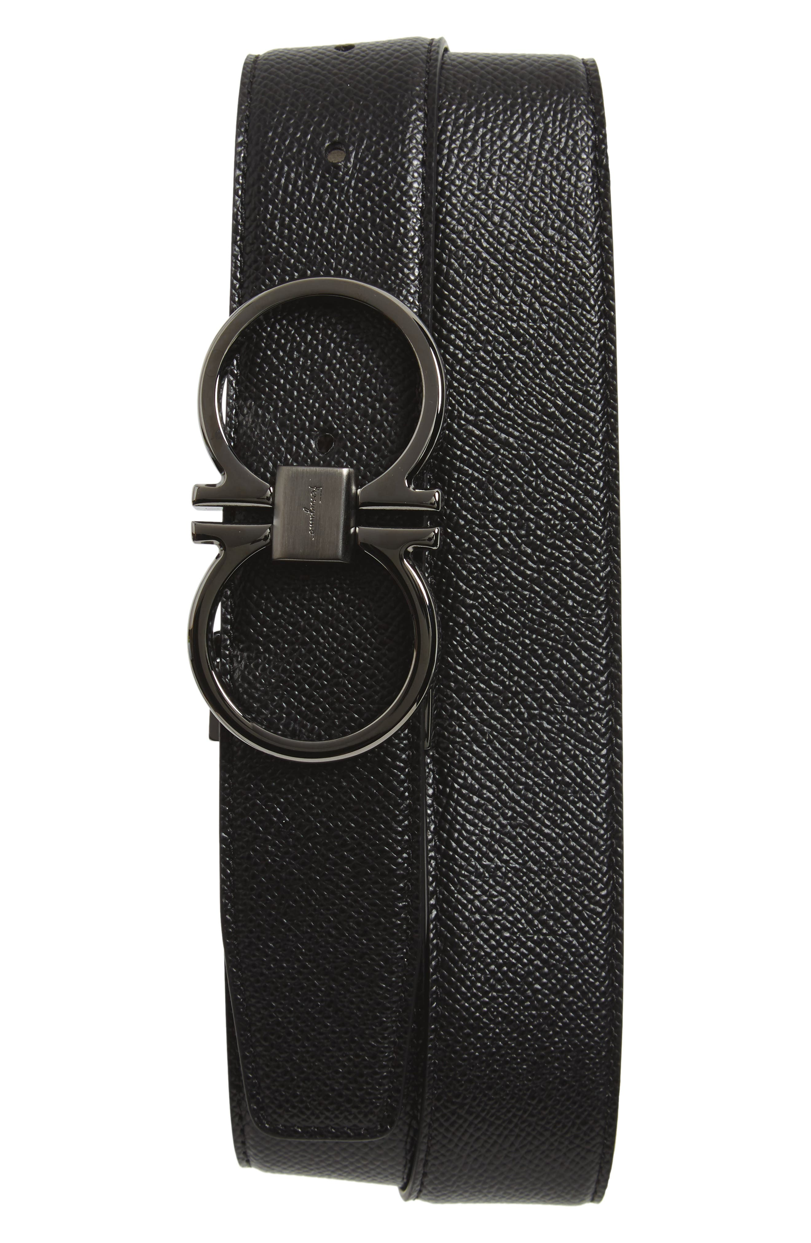 Double Gancio Leather Belt,                             Main thumbnail 1, color,                             BLACK/ T MORO