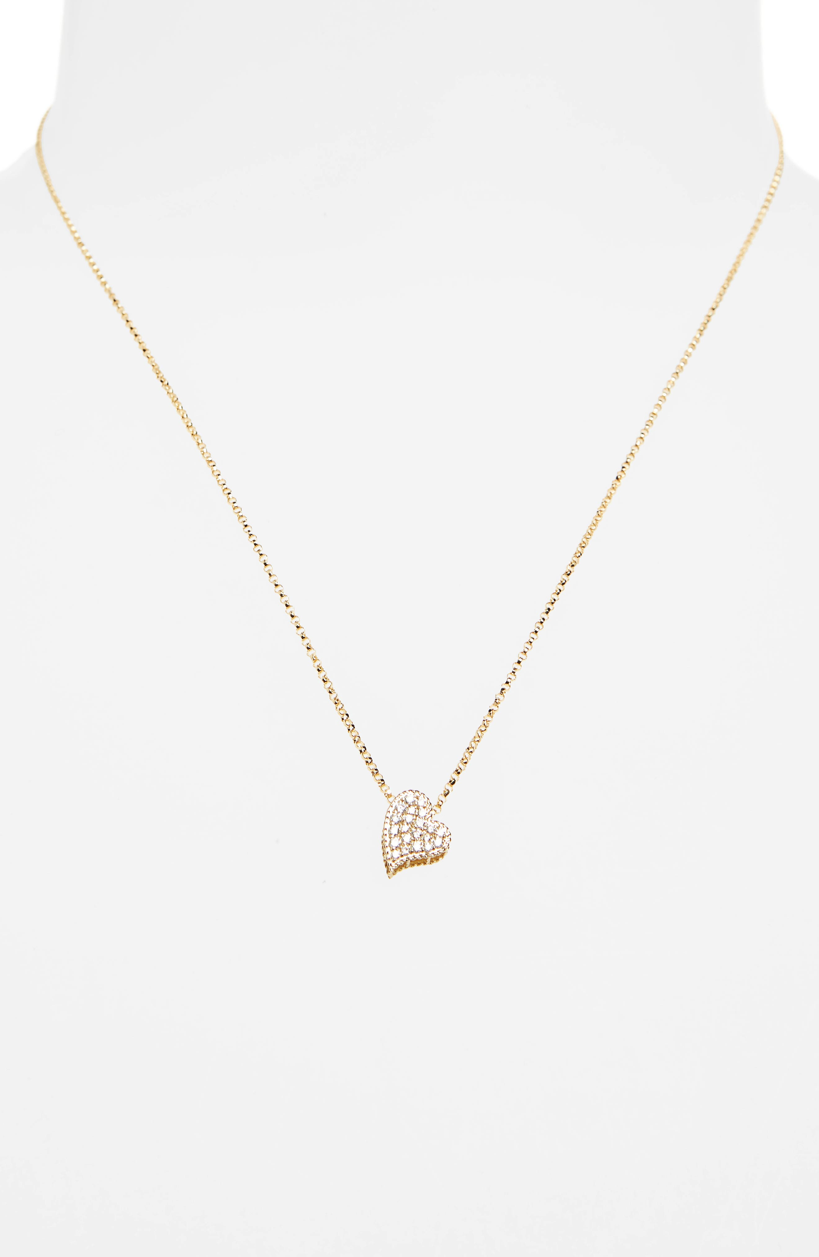 Princess Diamond Pavé Heart Necklace,                             Alternate thumbnail 2, color,