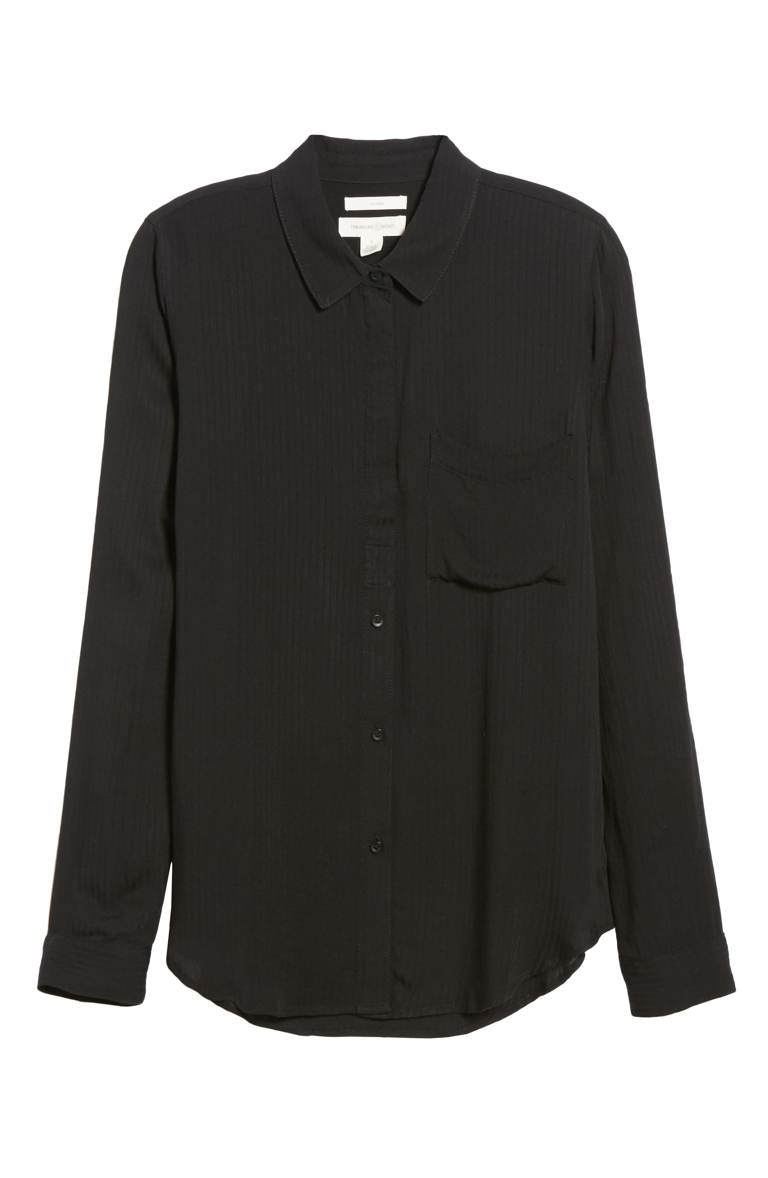 Dobby Classic Shirt,                             Alternate thumbnail 6, color,                             BLACK