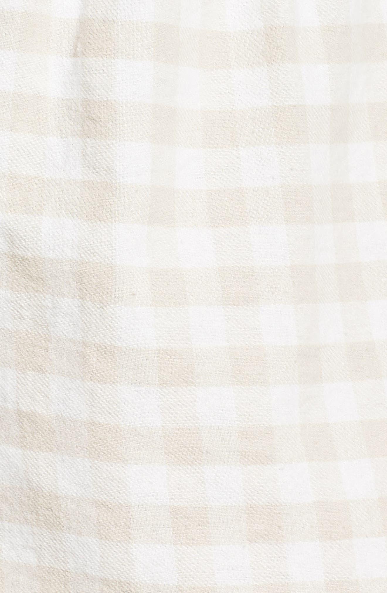 Gingham Pajama Shorts,                             Alternate thumbnail 5, color,                             CHAMPAGNE