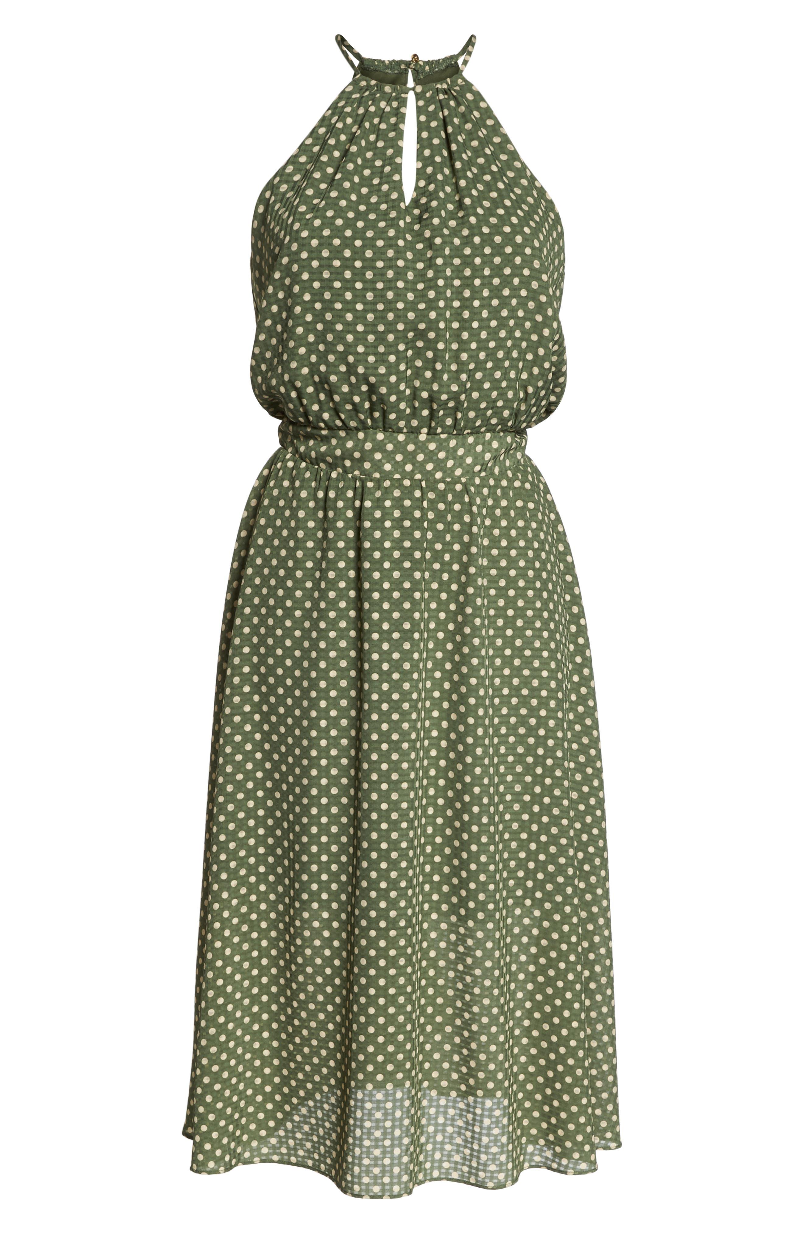 Polka Dot Halter Dress,                             Alternate thumbnail 7, color,                             350