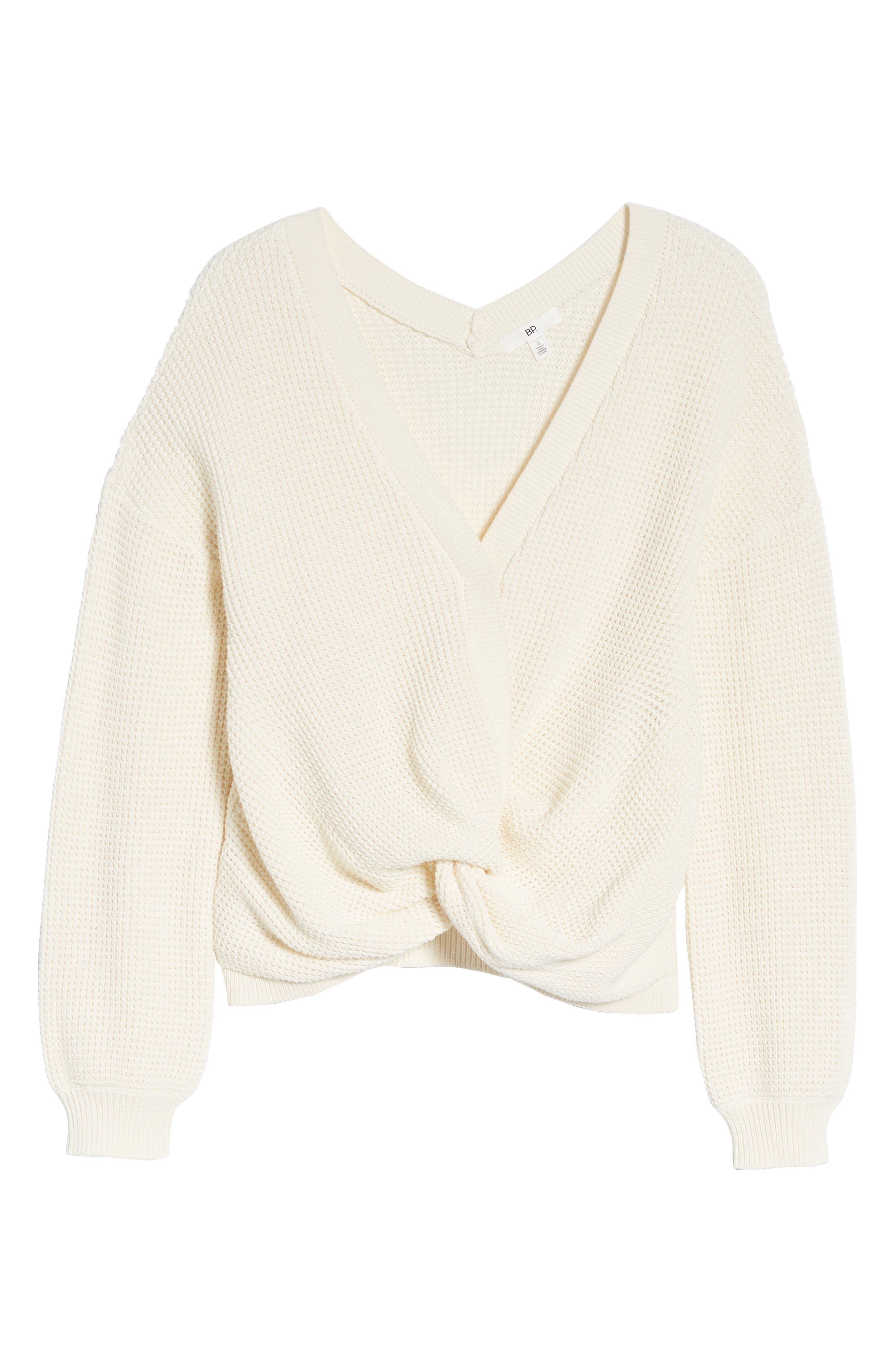 Twist Front Sweater,                             Alternate thumbnail 7, color,                             IVORY
