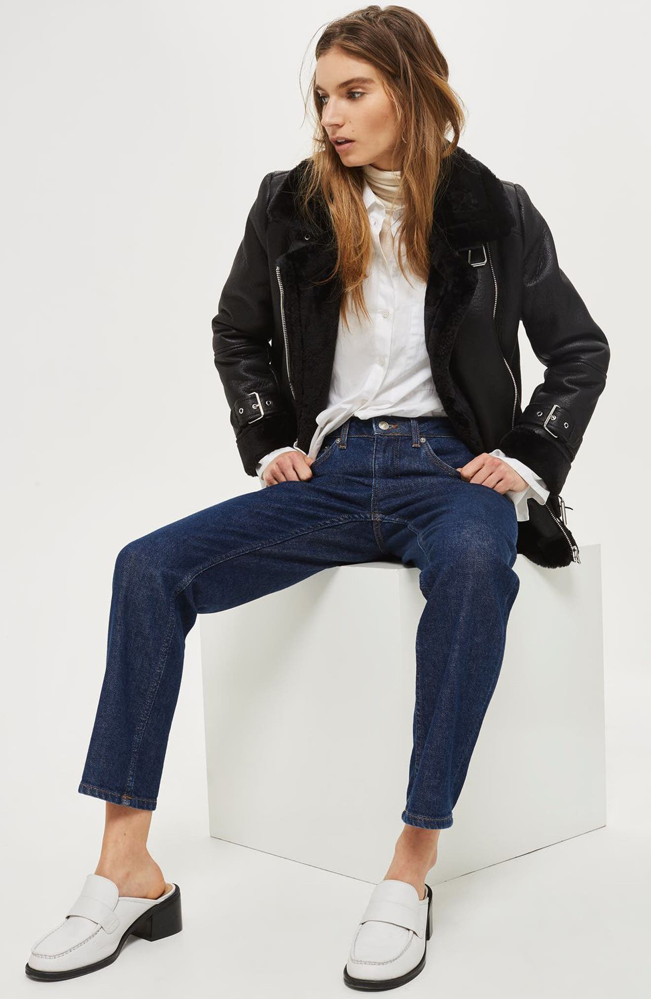 TOPSHOP,                             Faux Shearling Biker Jacket,                             Alternate thumbnail 6, color,                             001