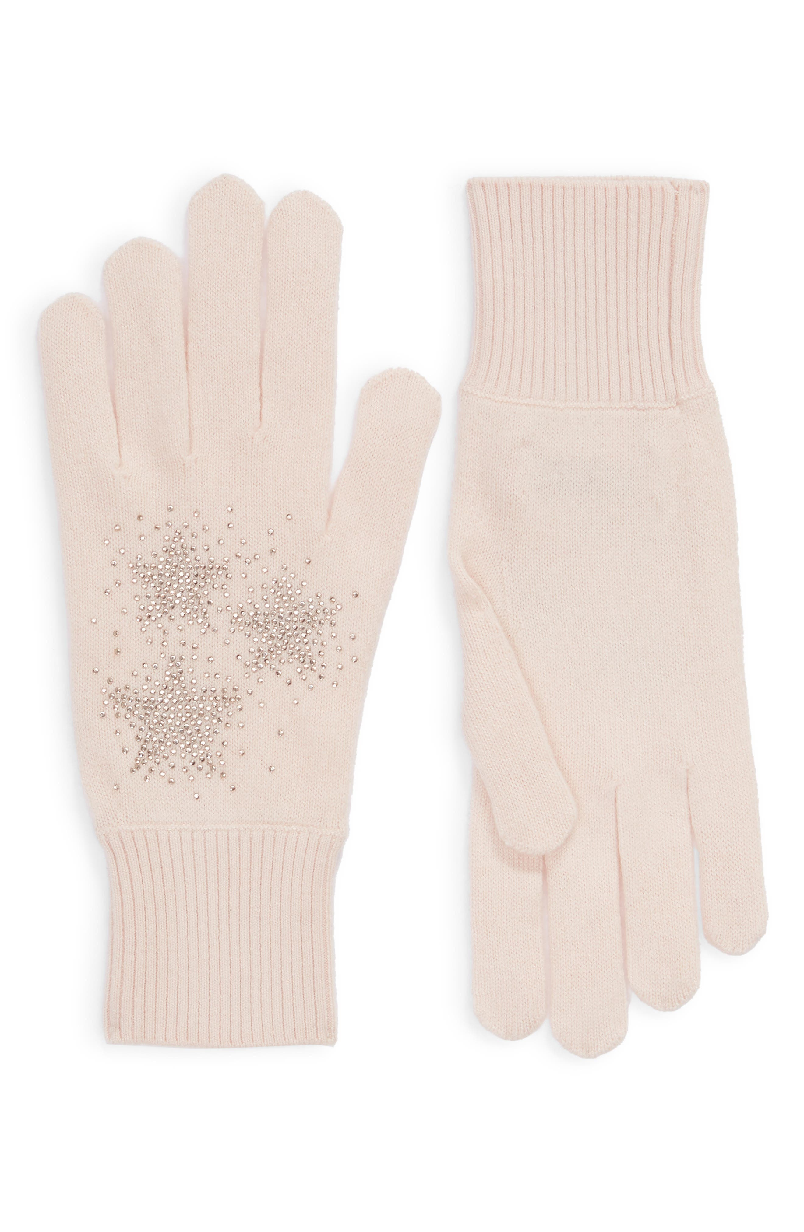 Star Hotfix Stud Gloves,                         Main,                         color, NUDE PINK