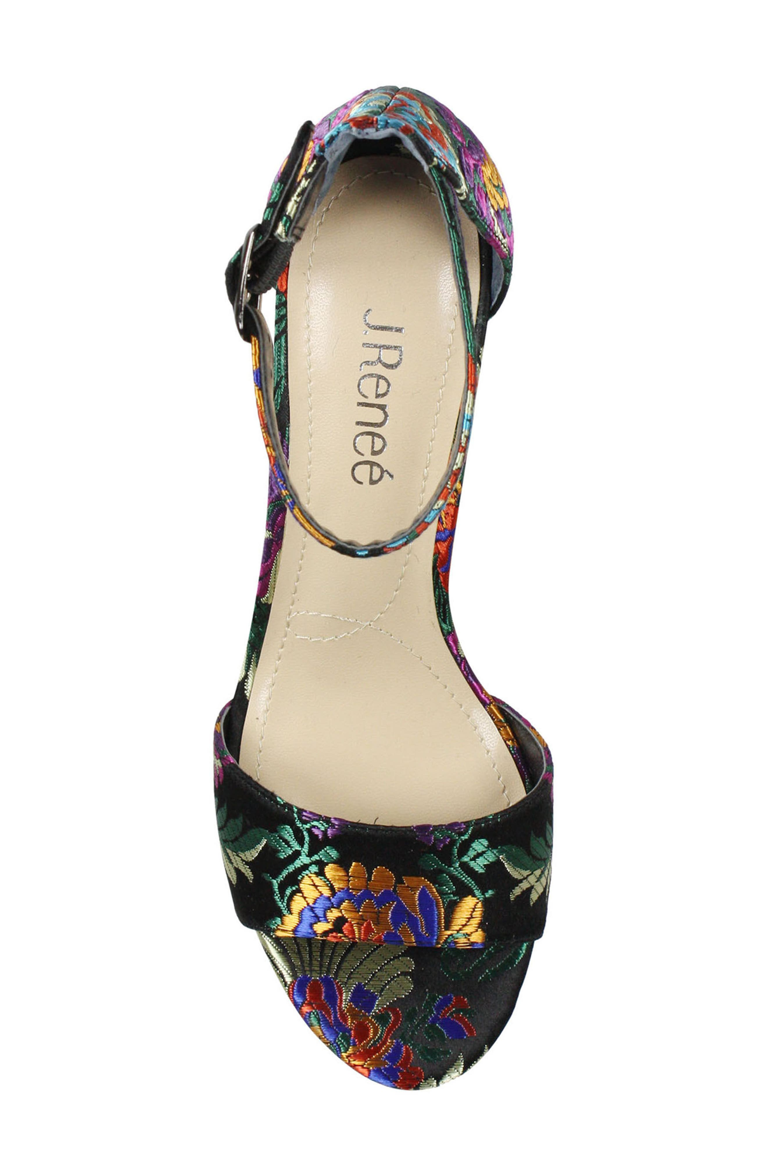 Flaviana Ankle Strap Sandal,                             Alternate thumbnail 5, color,                             BLACK MULTI FABRIC