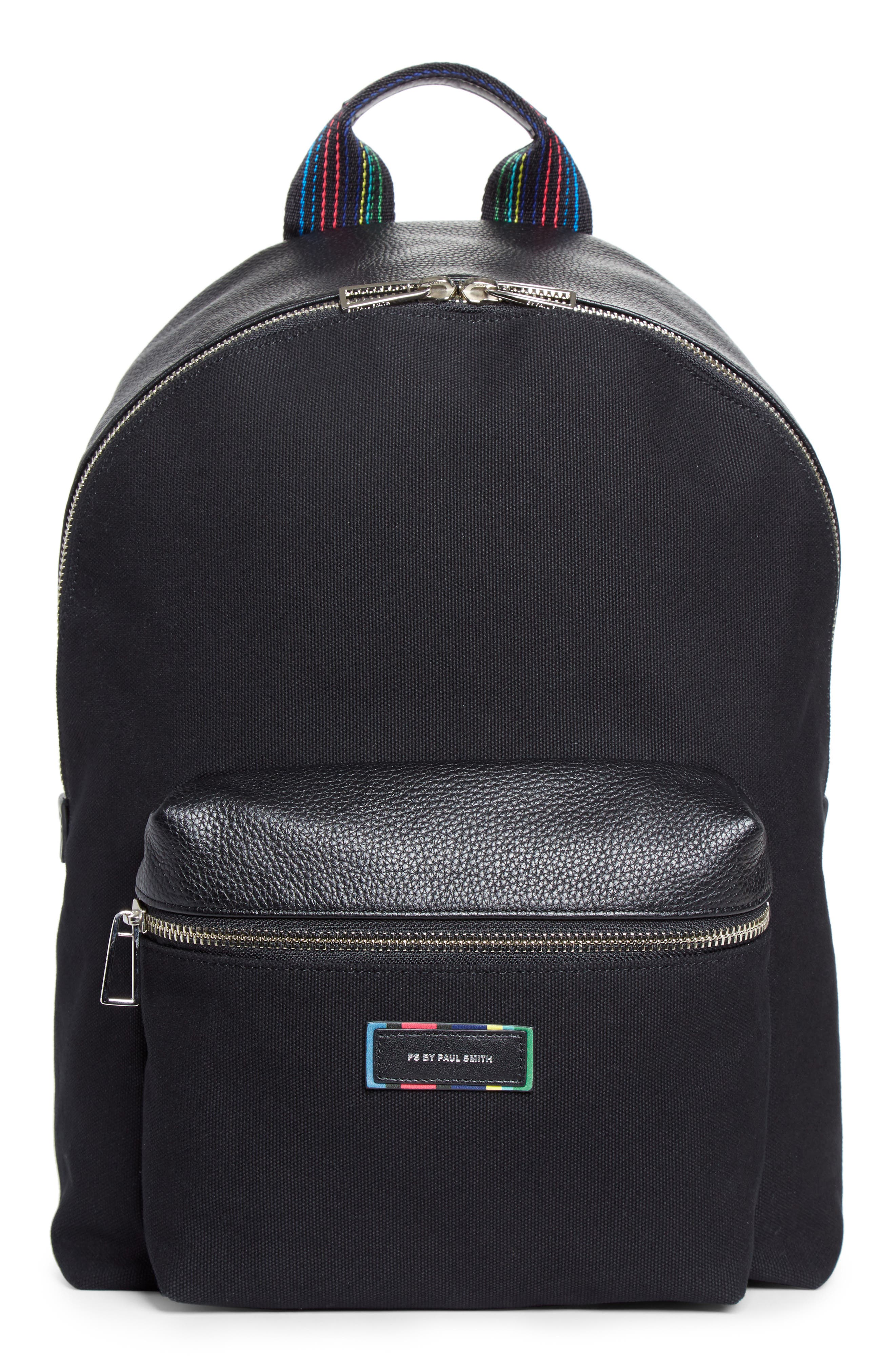Leather Trim Canvas Backpack,                         Main,                         color, 001