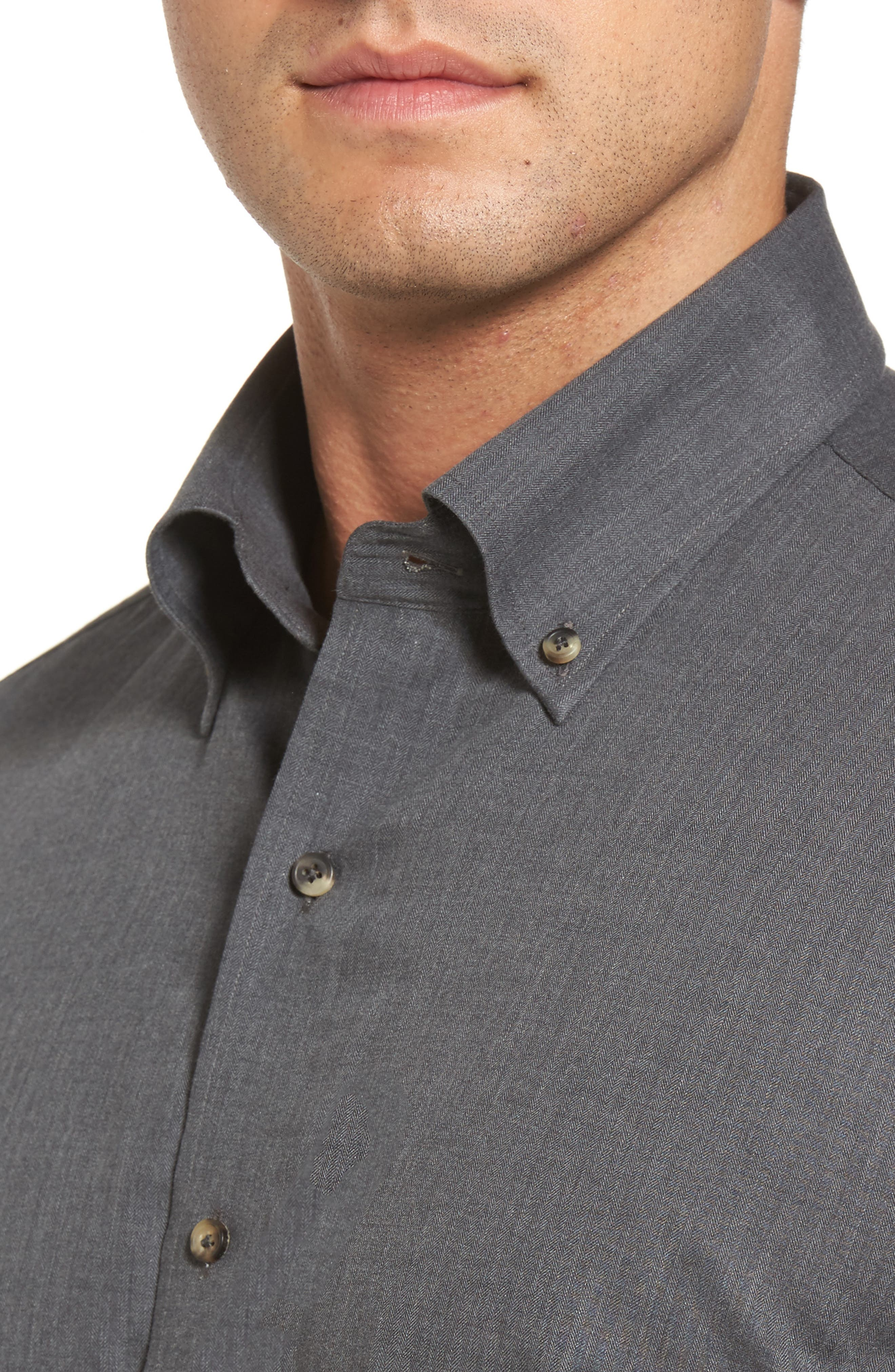 Peter Millar Regular Fit Mélange Herringbone Sport Shirt,                             Alternate thumbnail 4, color,                             039