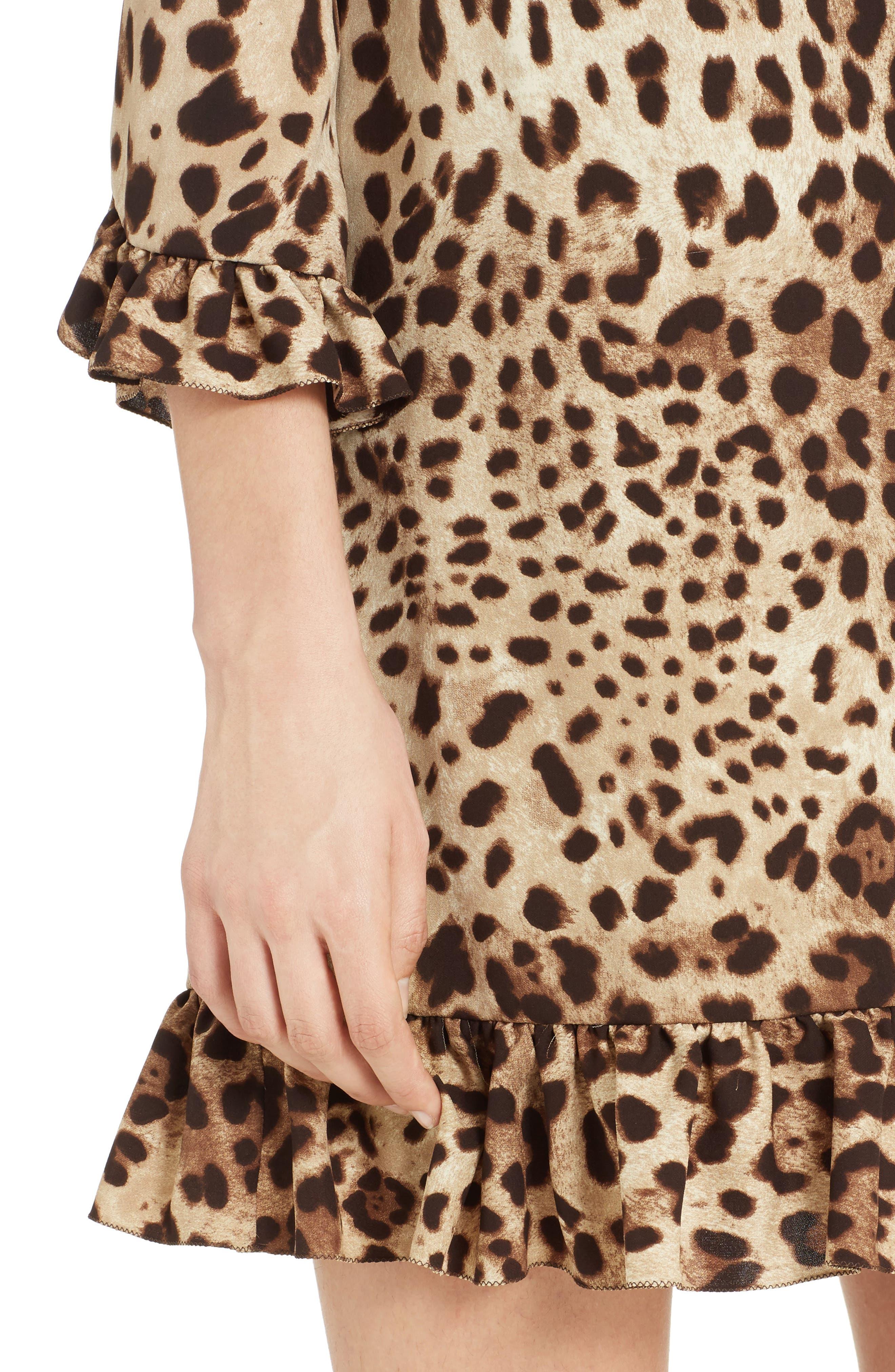 Leopard Print Stretch Silk Dress,                             Alternate thumbnail 4, color,                             200