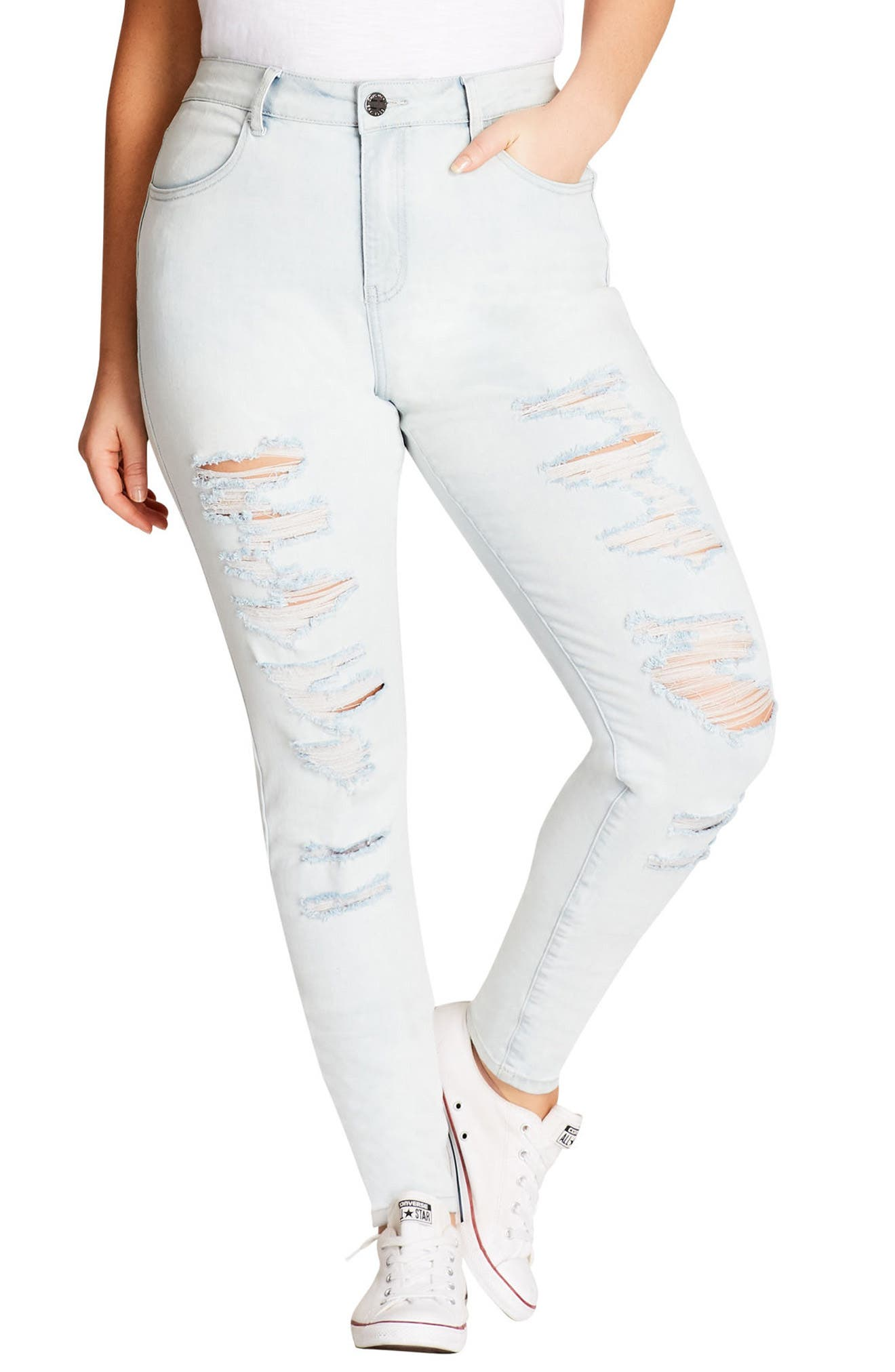 Distressed Skinny Jeans,                             Main thumbnail 1, color,                             LIGHT DENIM